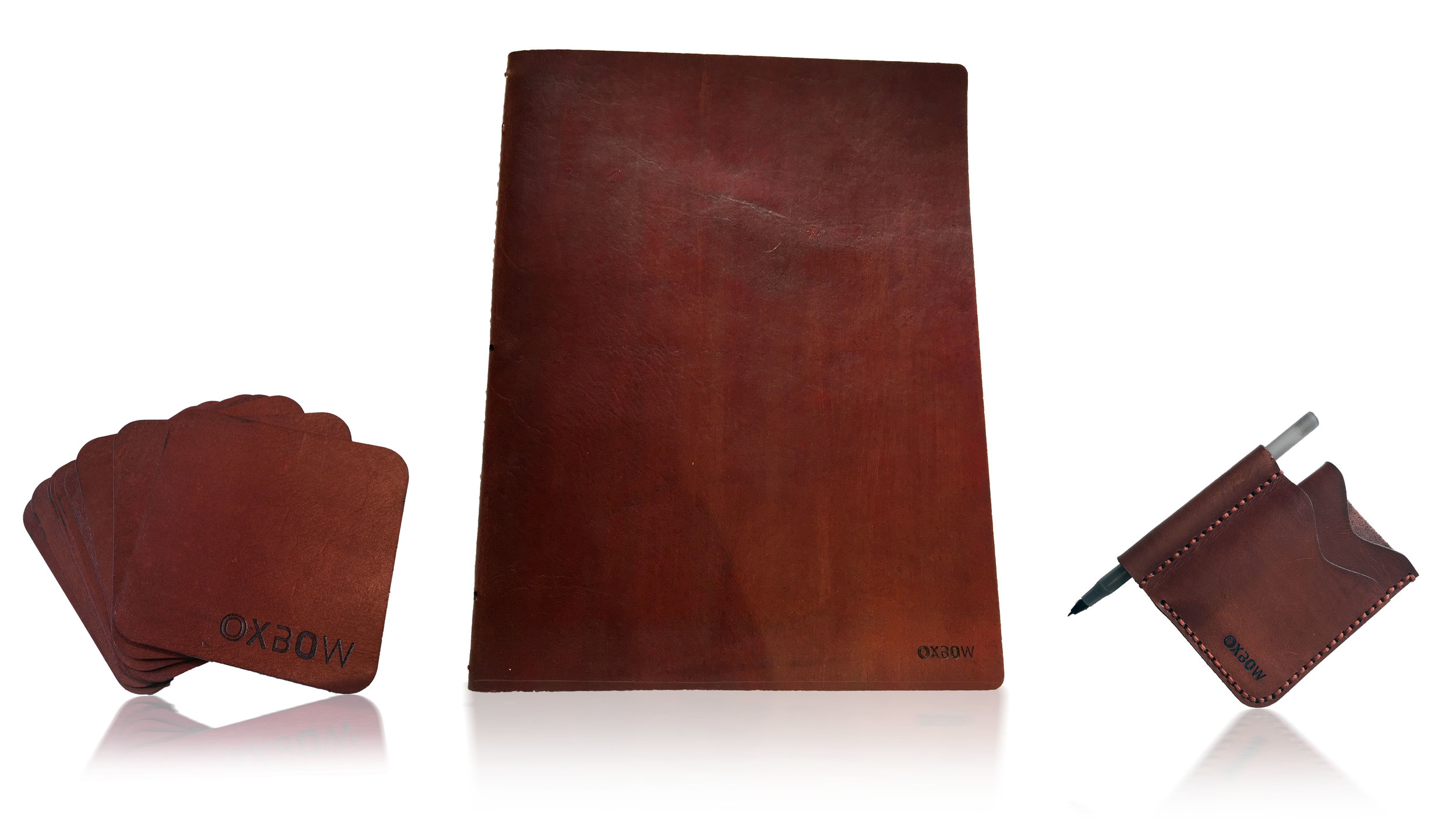 Leather coaster, wine menu and bespoke billfold set