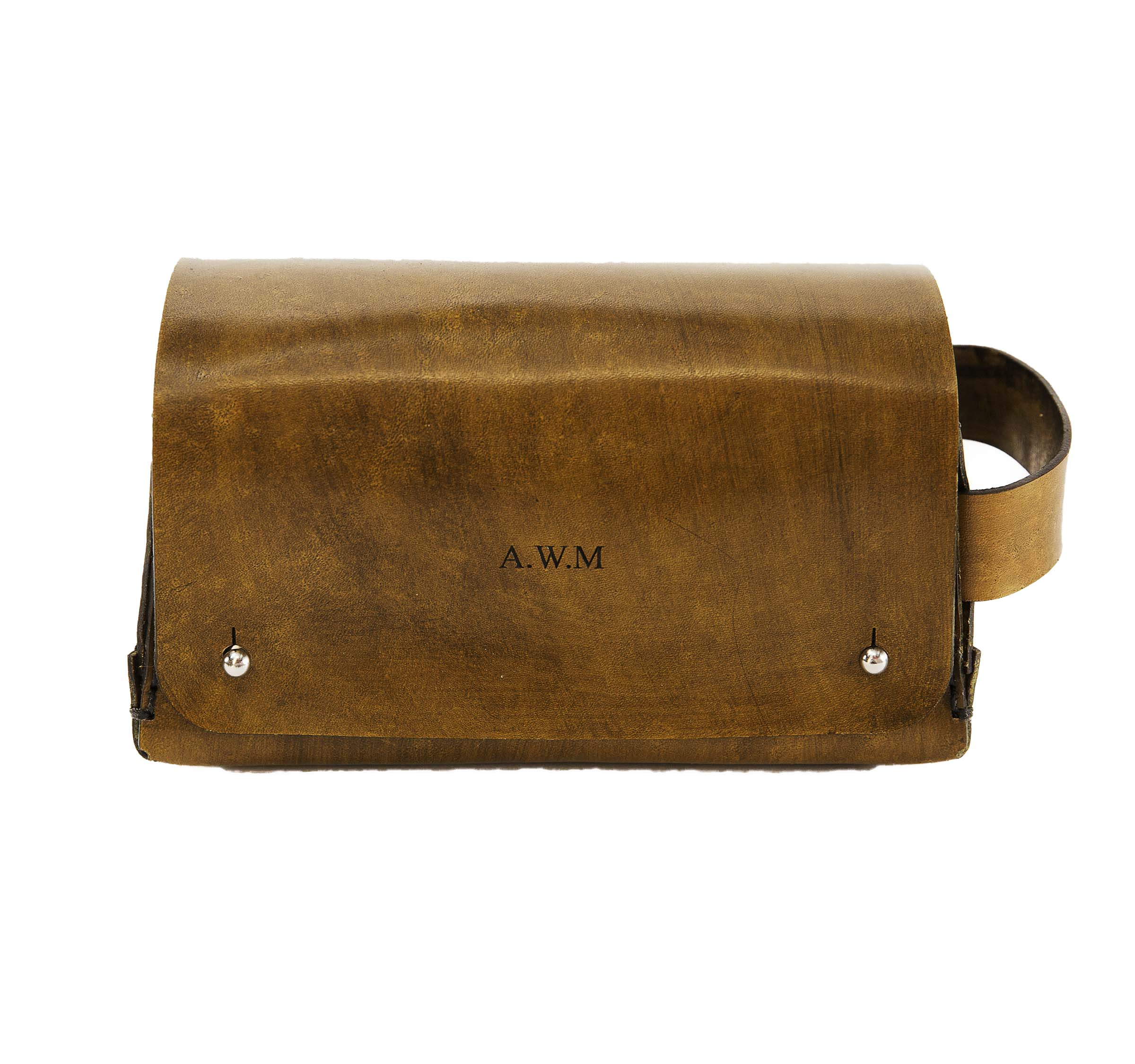 Barber - Engraved. Leather dopp bags.