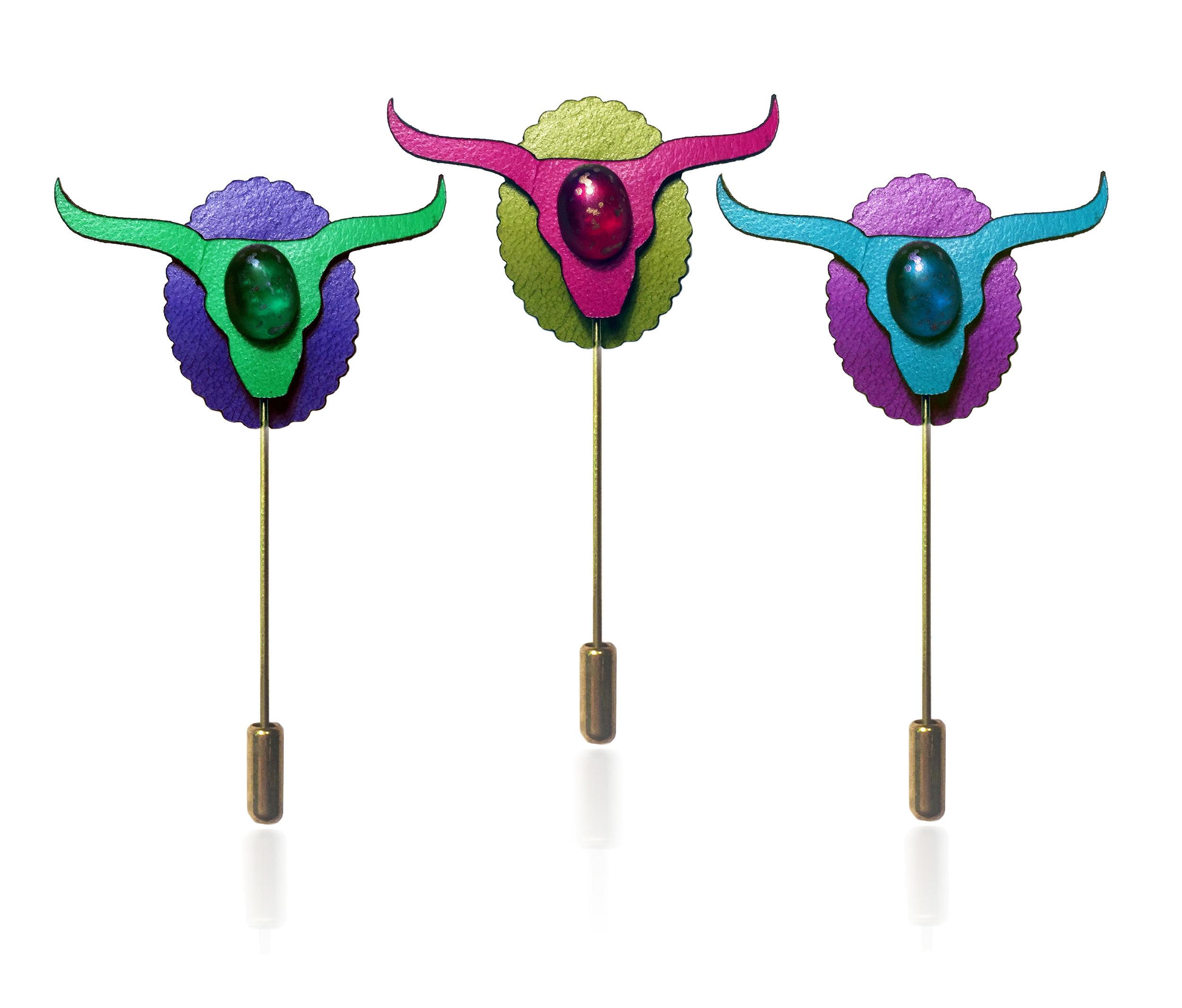 Bull Head Lapel Pin LETHRBAR.jpg