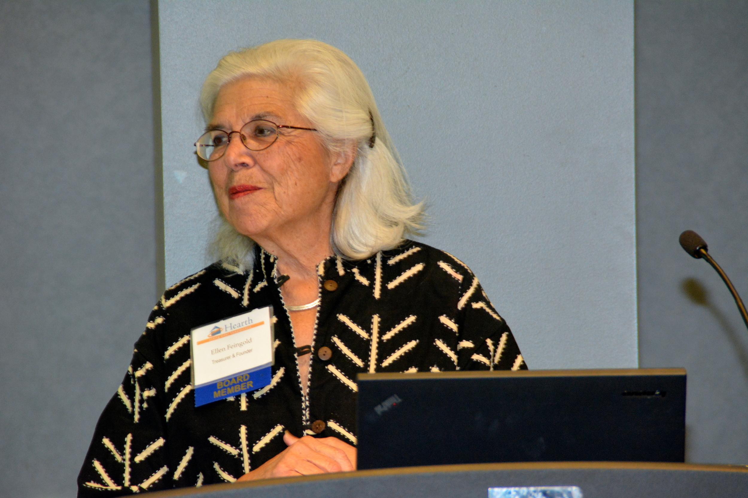 Hearth Treasurer and Founder Ellen Feingold gives the Treasurer's Report.