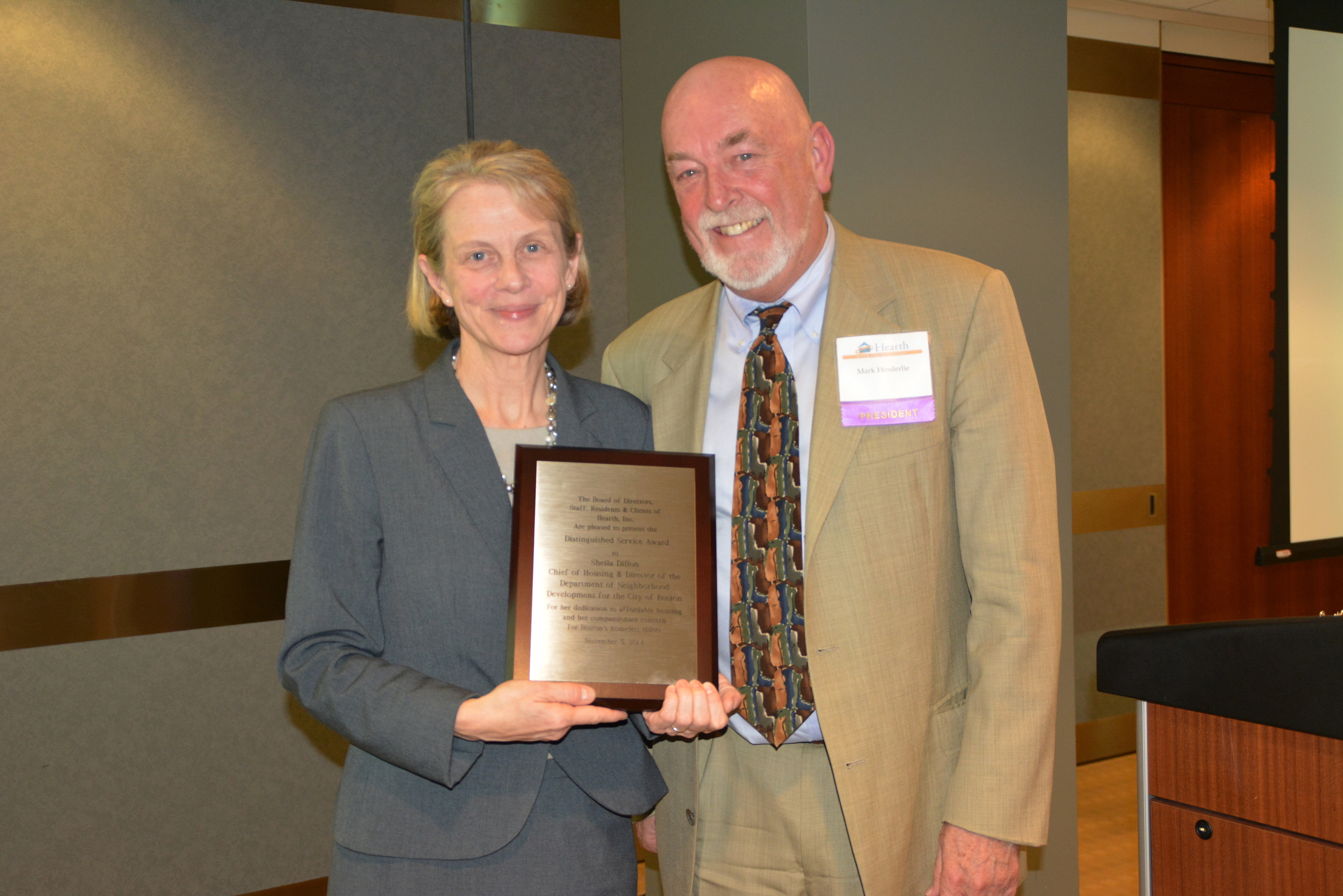 Mark with Distinguished Service Award Honoree Sheila Dillon, the City's Chief of Housing.