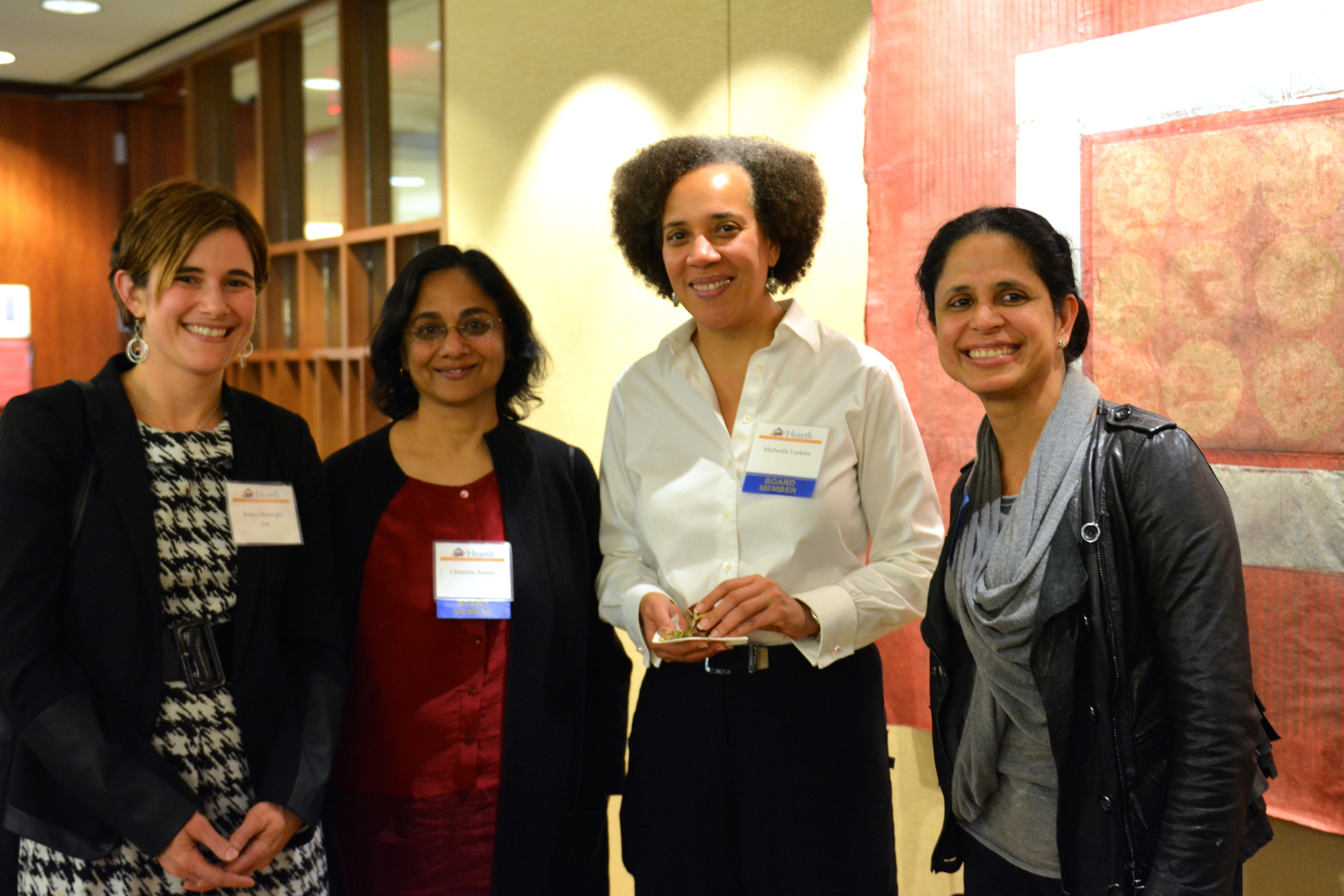 Jessica Boatright from JCHE with Hearth Board Members ChristineAraujo, Michealle Larkins, and ParamRoychoudhury.