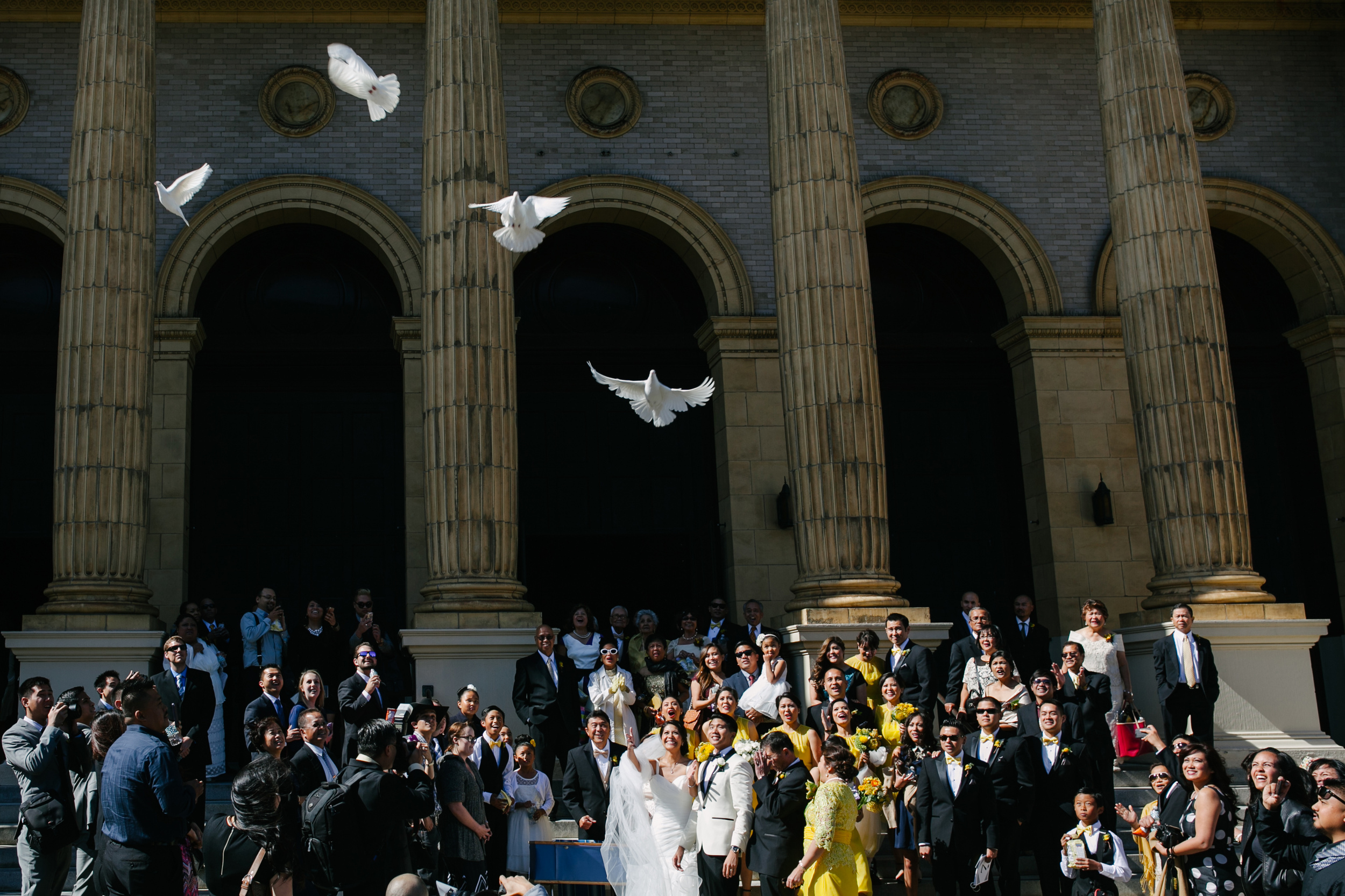 Dove release after wedding ceremony