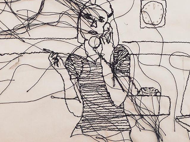 Embroidered sketches of Margot Tenenbaum 🚬 #sketching #embroidery #theroyaltenenbaums #margottenenbaum #christinekopper