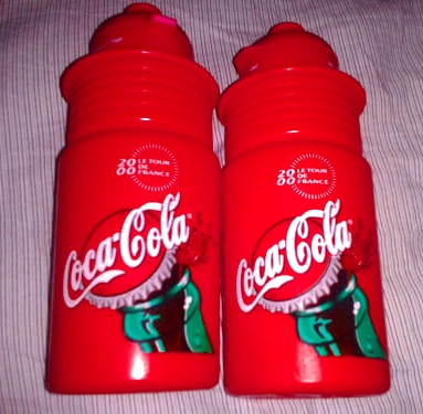Tour De France 2000 Coca Cola plastic bicycle water bottles. Made in Italy Elite