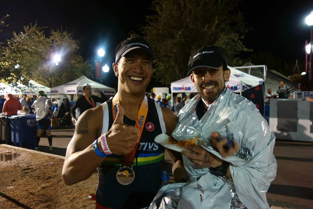 My Fortius teammate Ryan has a megawatt smile that just makes you want to smile too. Ryan was one of the folks who planned to race Ironman Lake Tahoe and moved to IMAZ after that race got cancelled. Glad I got to be there at the finish with him after I bundled up due to some shivering post-race.