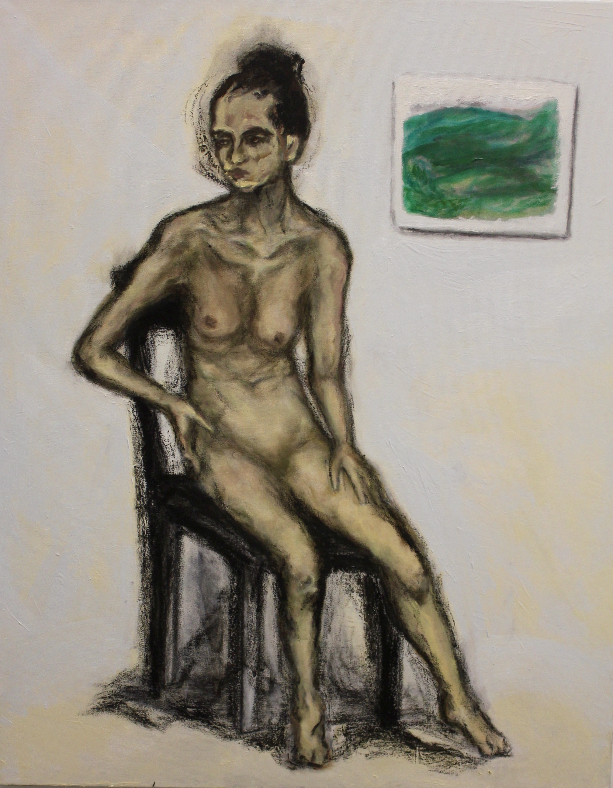 Woman on Black Chair