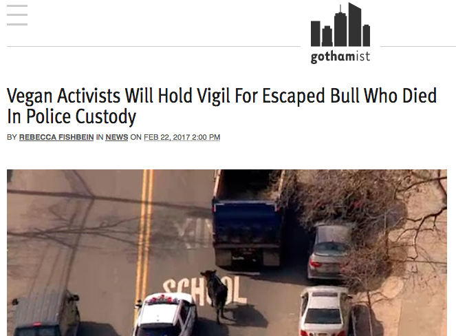 Gothamist (print):  Vegan Activists Will Hold Vigil…
