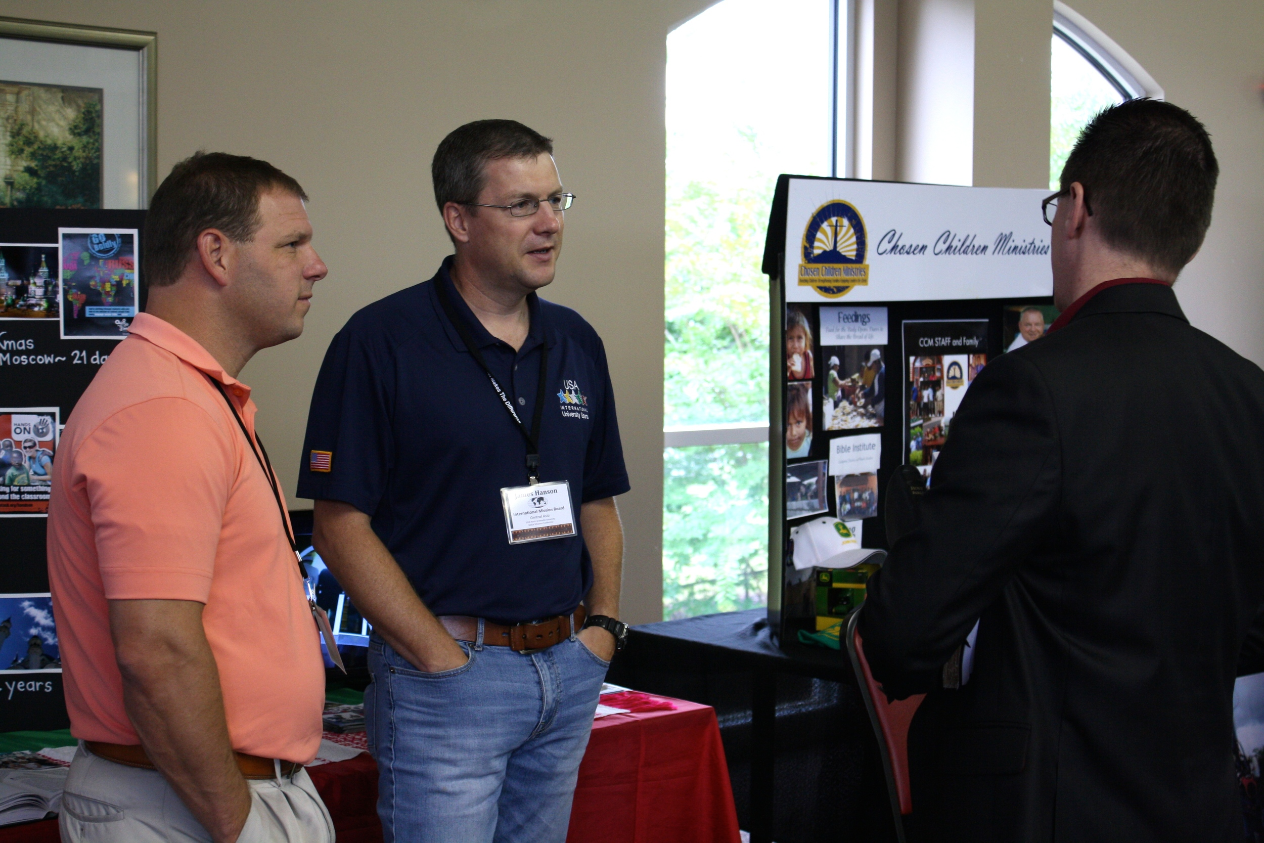 Missionaries from different ministries engage in a casual conversation during NGU's global missions week September 8-10.