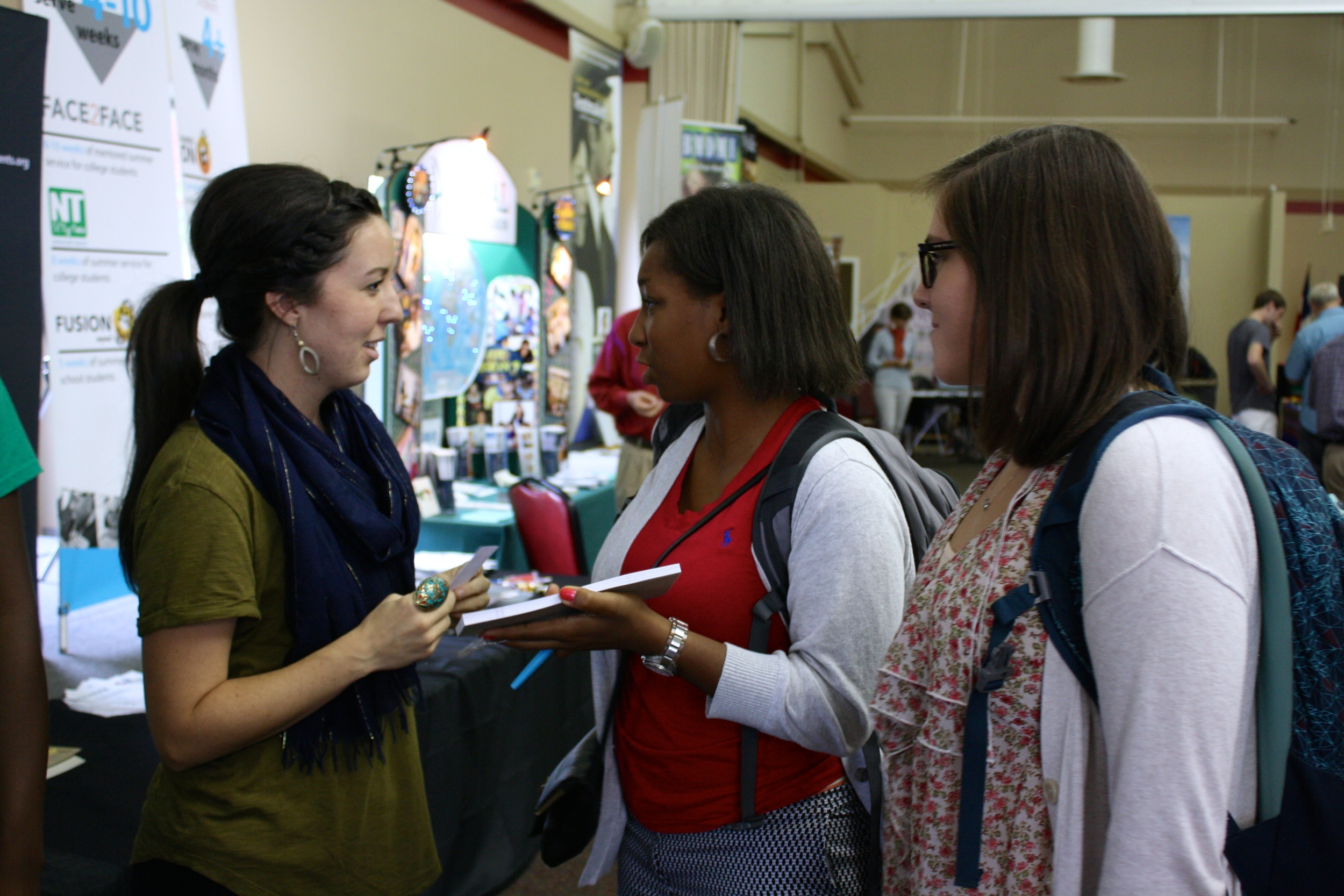 Students ask a missionary questions about the ministry she is involved in during NGU's global missions week September 8-10.