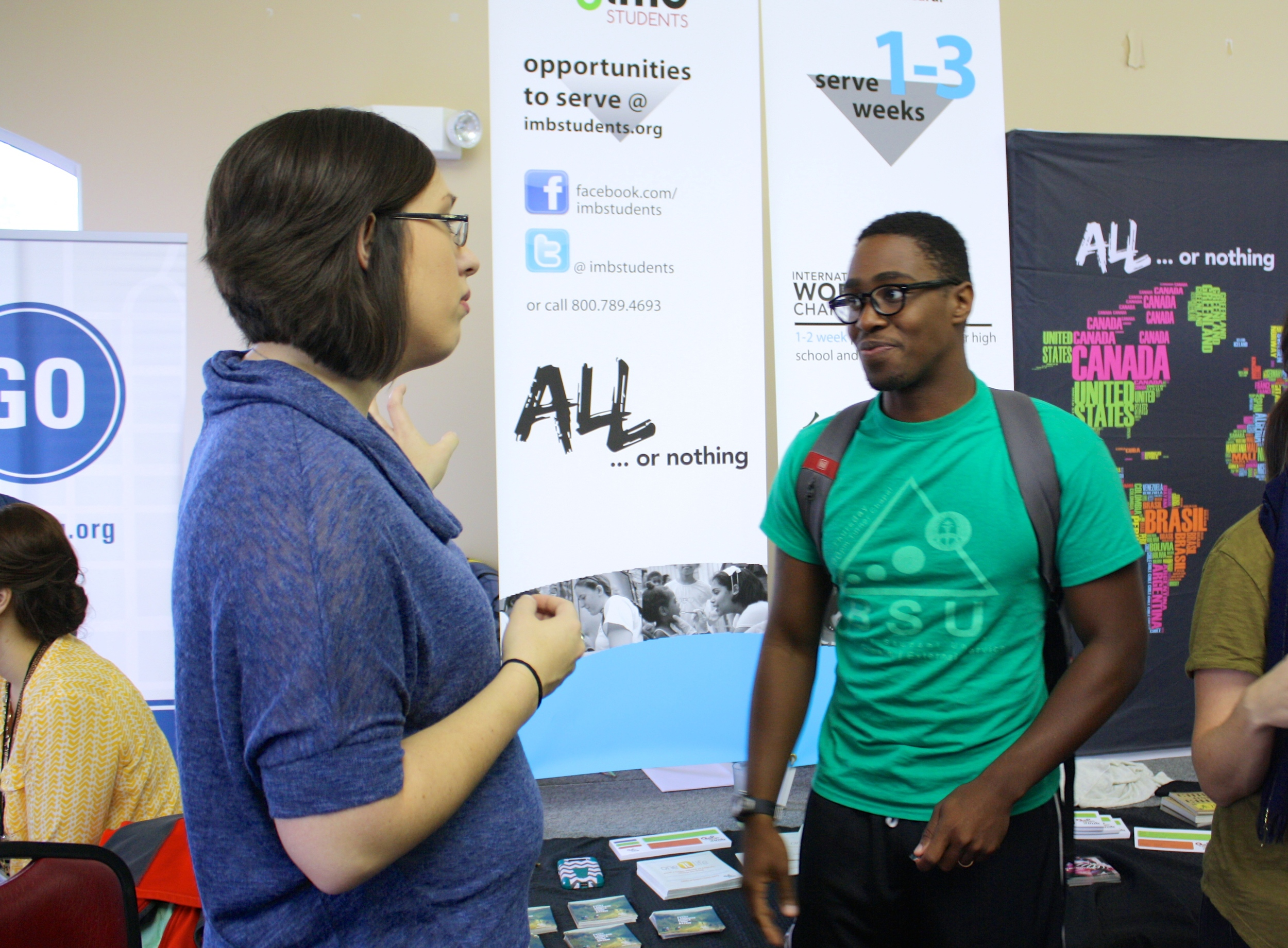 A missionary and a student discuss missions during NGU's global missions week September 8-10.