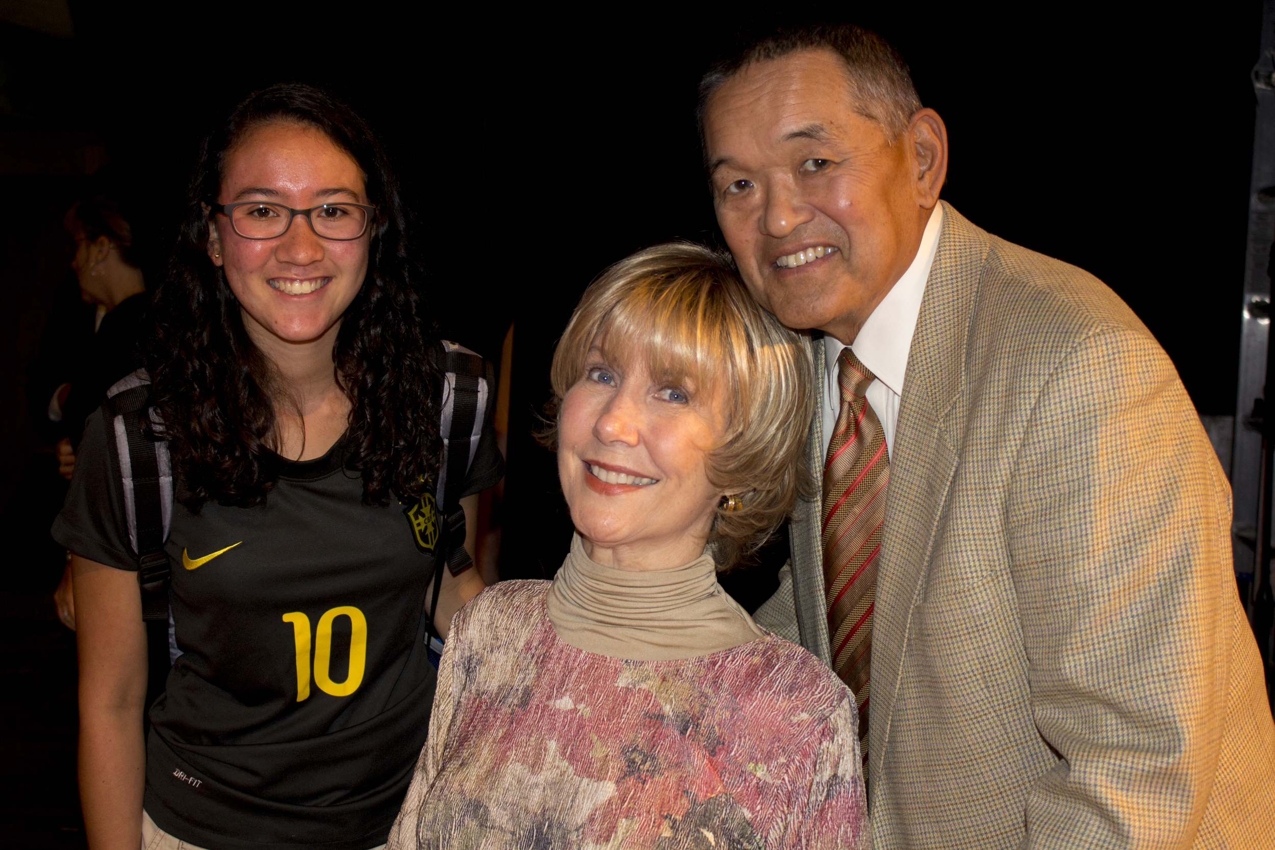 Joni Eareckson Tada spent time withs students after speaking at chapel, even posing for pictures, like sophomore Alisa Sandlin and Tada's husband, Ken.