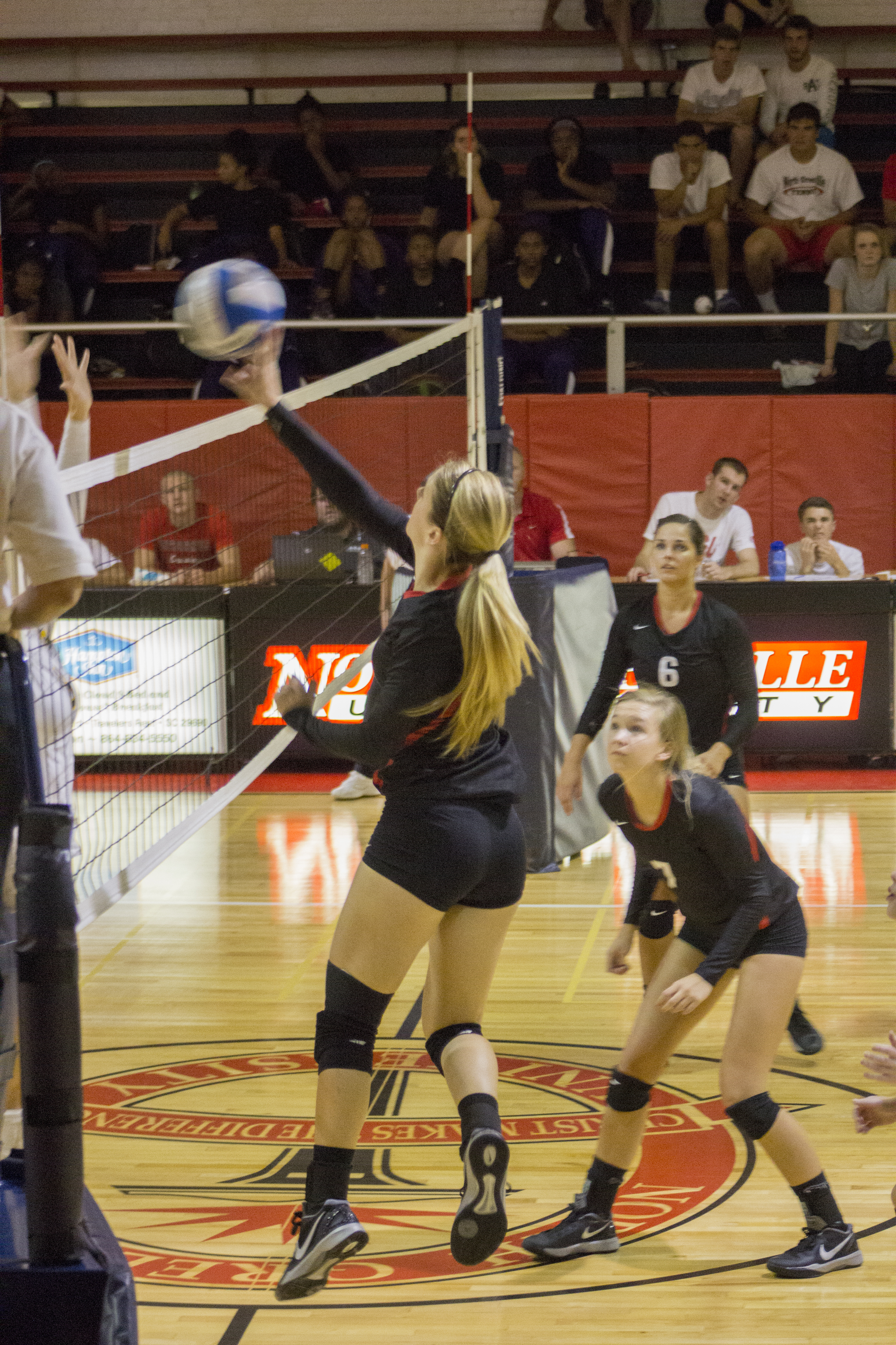 Junior Taylor Dupes taps the ball over the net.