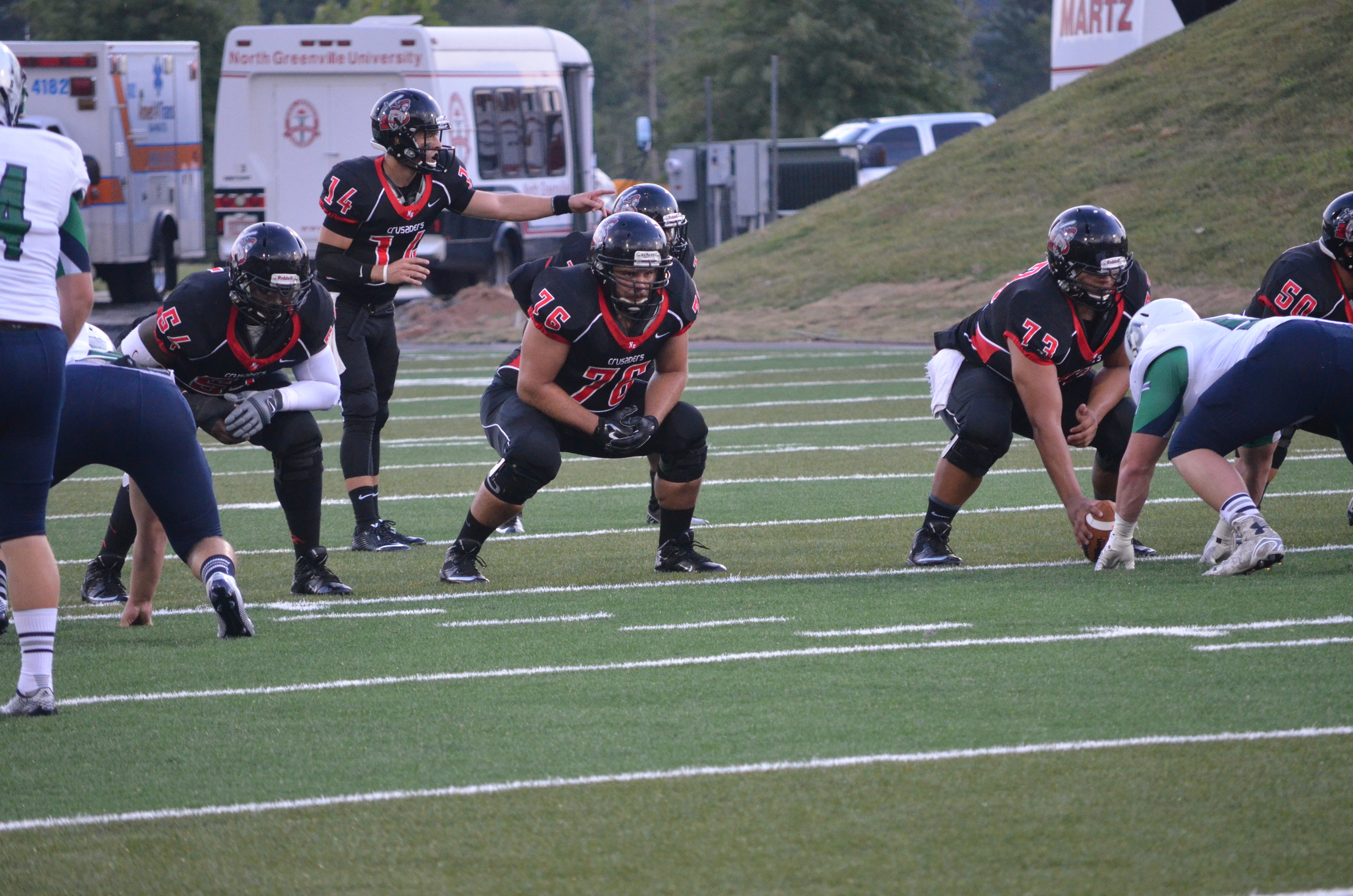 The Crusaders prepare for the first down of the first quarter