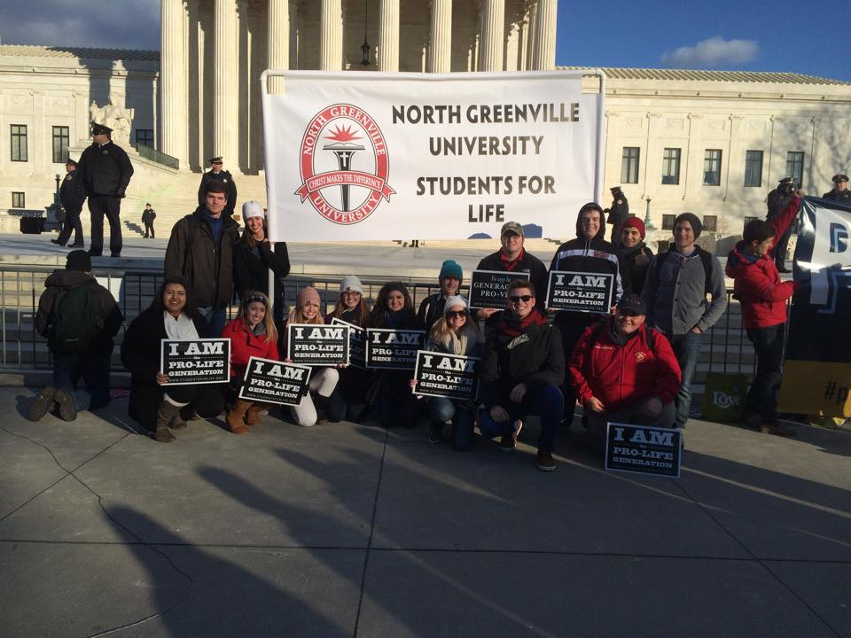 Students represent North Greenville at the Right to Life Rally held in Washington D.C. on January 24.