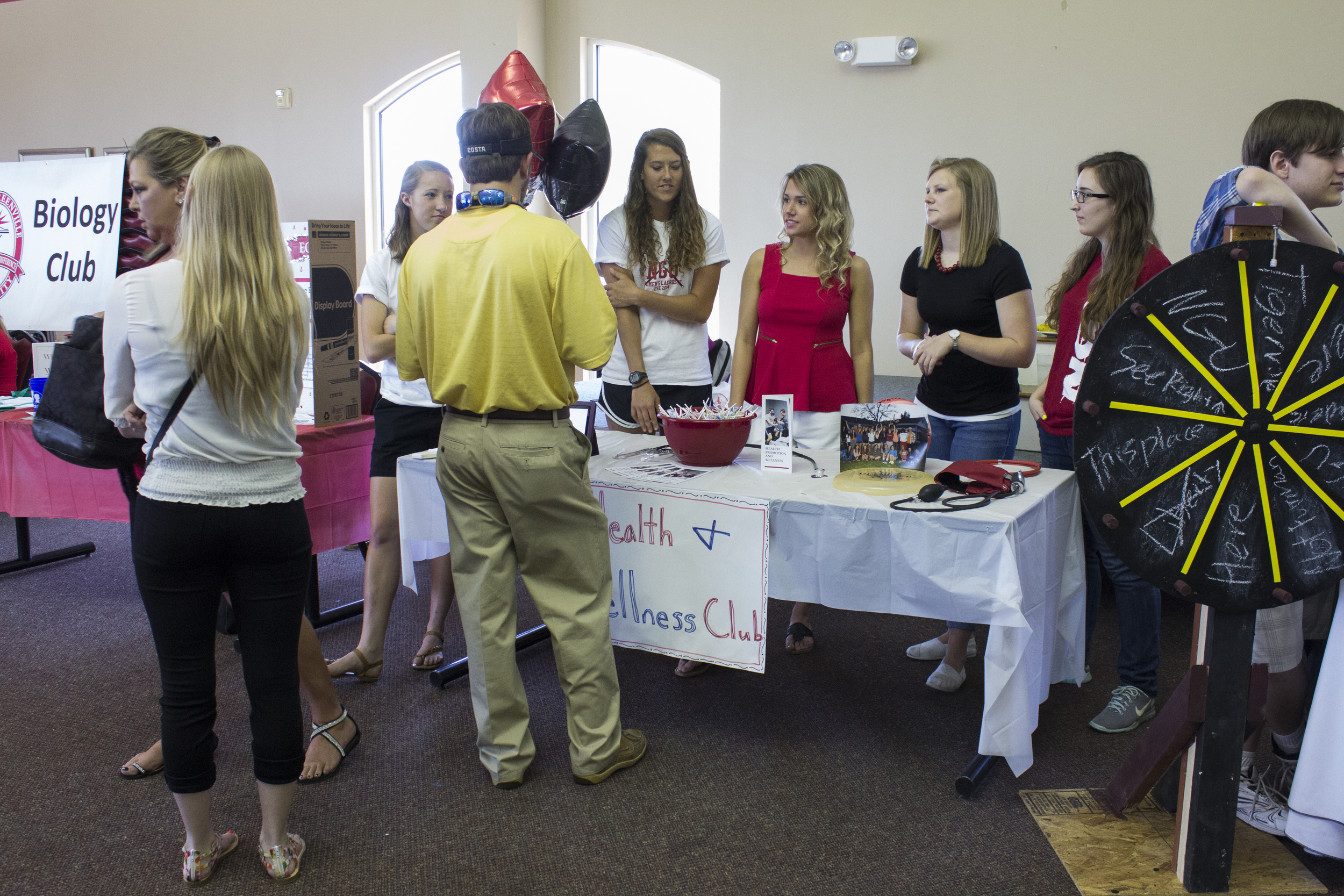 Some of the heath and wellness majors explain what opportunities they have within their major to those who pass by.