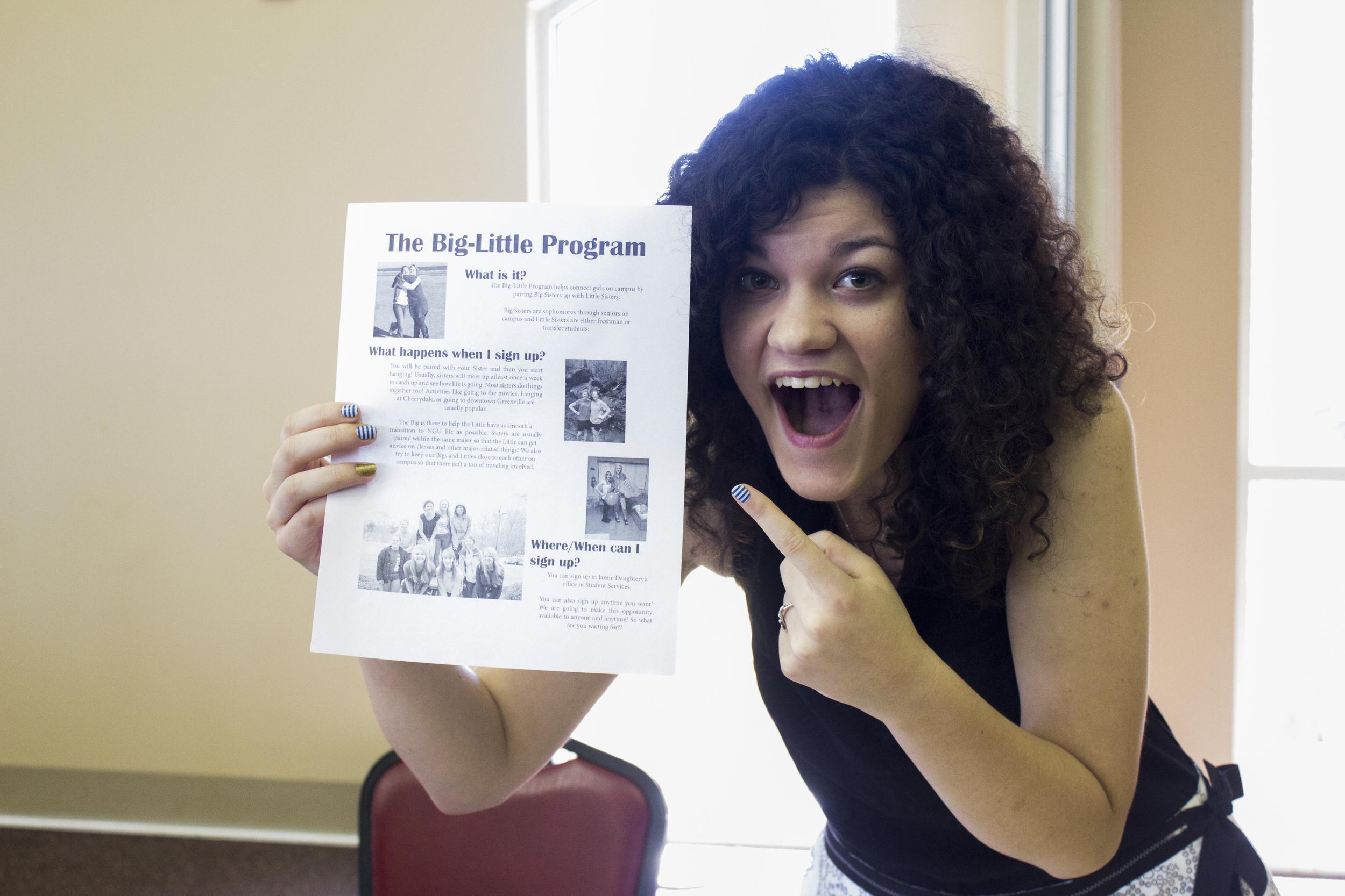 NGU studentKatie Gaylean expresses her excitement about the Big-Little Program NGU has for interestedincoming freshman.
