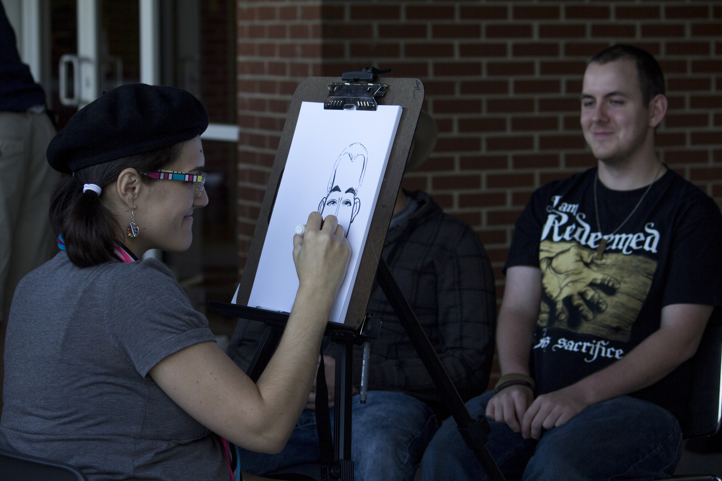 They also set up the ability to have students receive a caricature of themselves with their friends.
