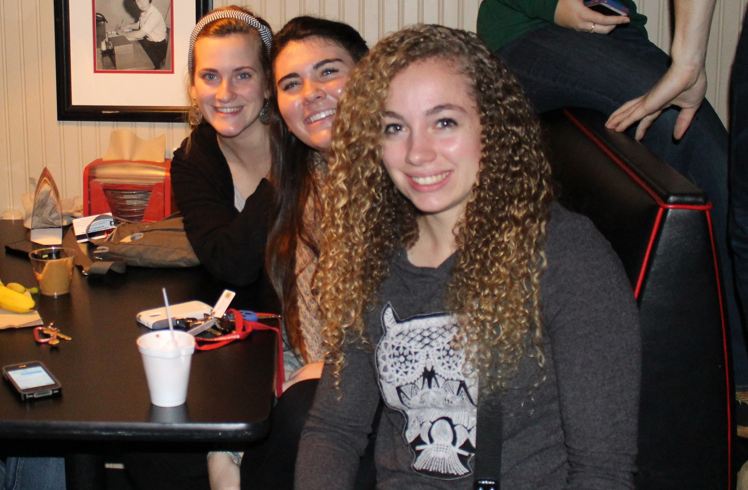 Emilie Russ, Caroline Cappell and Sarah Flook having a break from classes on Wednesday night.