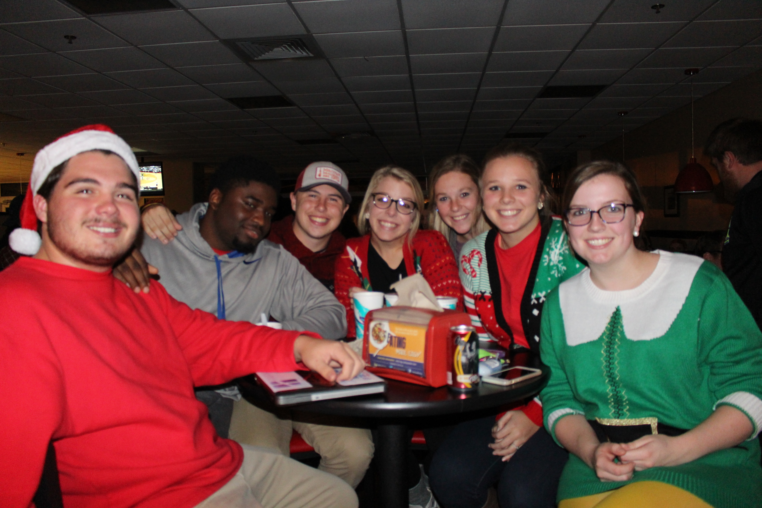 J.G. Faulk, Dominique Richardson, Cameron Ward, Macy McDonald, Chaffee Thompson and Faith Rodgers looking festive on Wednesday night.