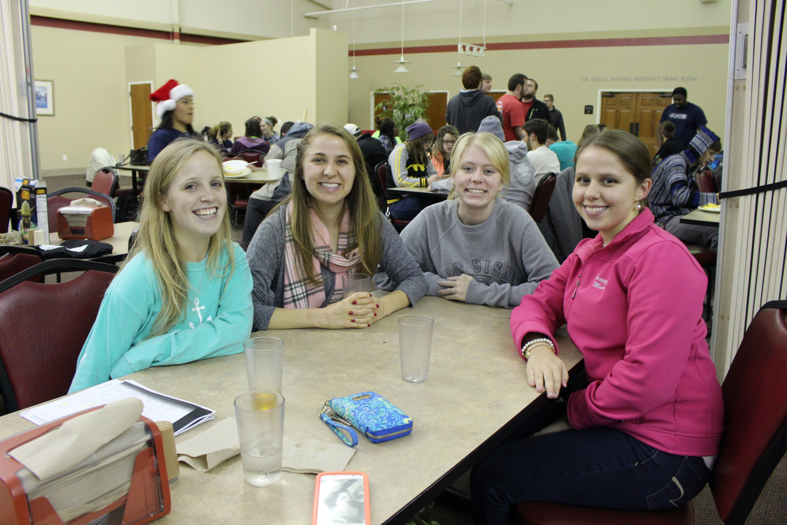 Bailey Stewart, Jori Edgington, Jessie Prescott and Rachel Wade are ready to take on exams after enjoying the pancakes and breakfast.