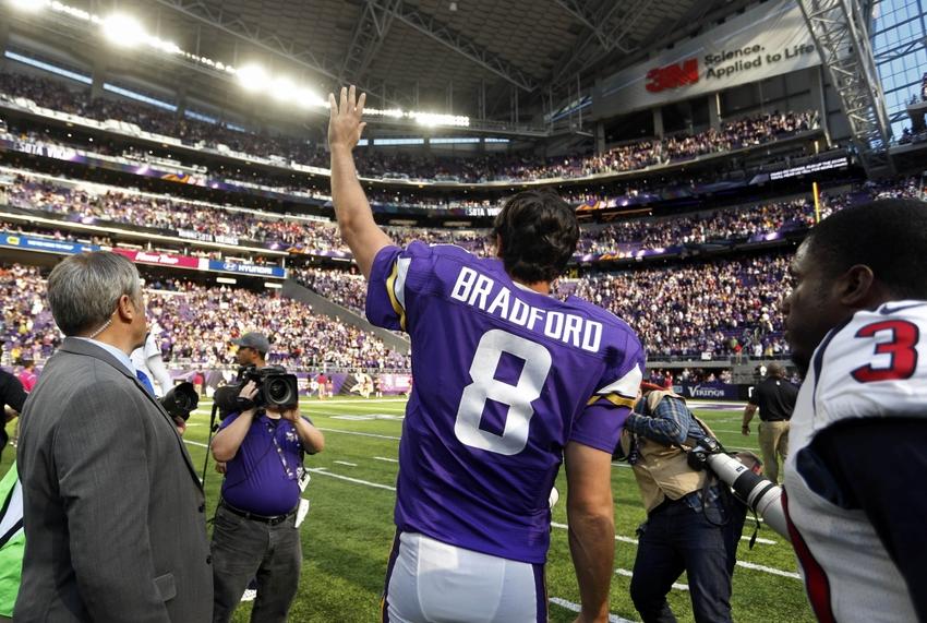 Sam Bradfors celebrates as the Vikings pick up their 5th win of the season.