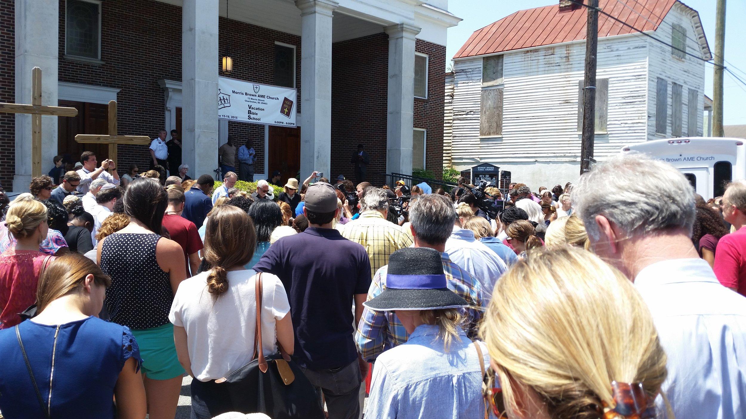 Photo taken outside of the Charleston church shooting memorial service. Public domain.