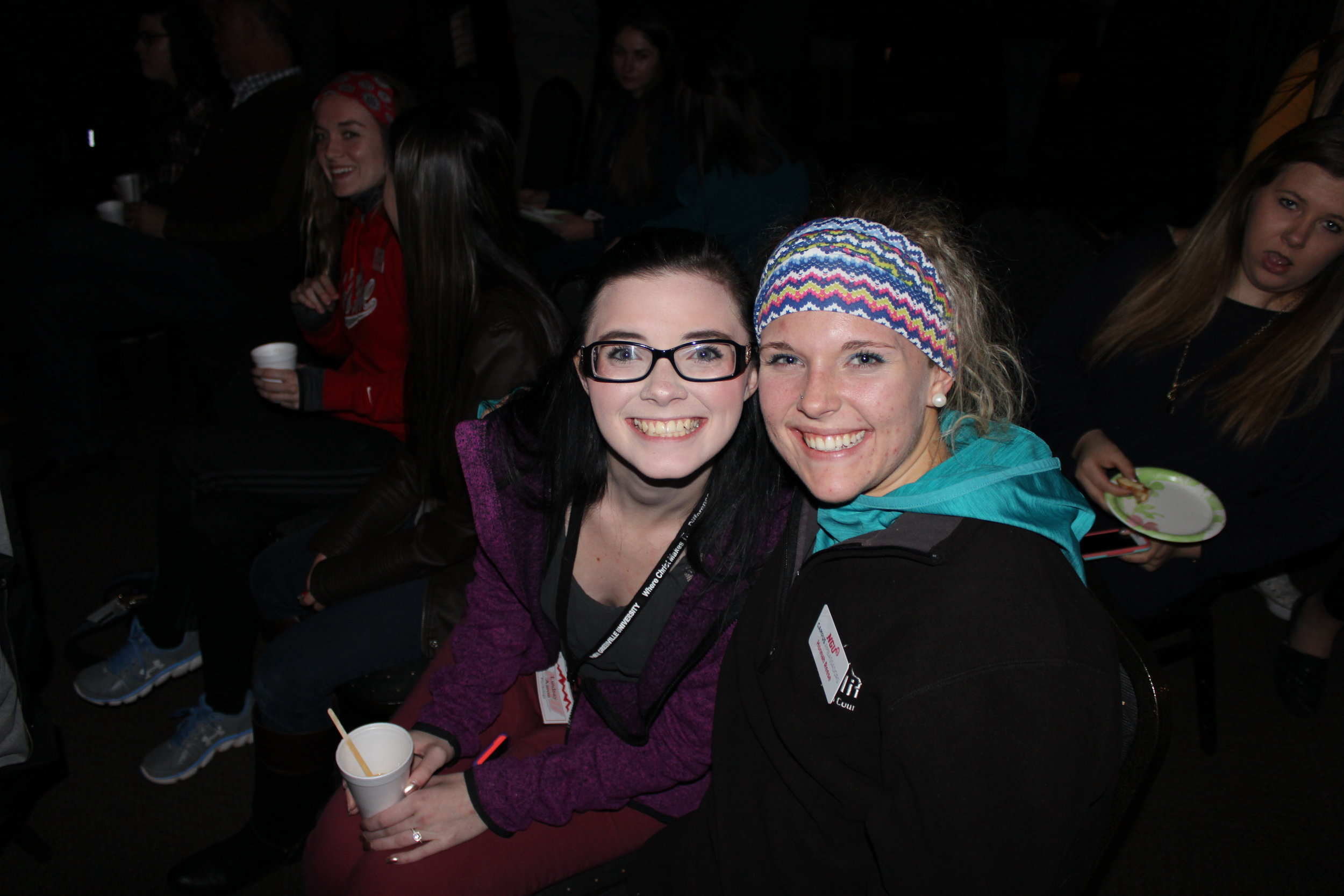 Hanna Reese and her overnight guest Lindsay Aaron enjoying the show.