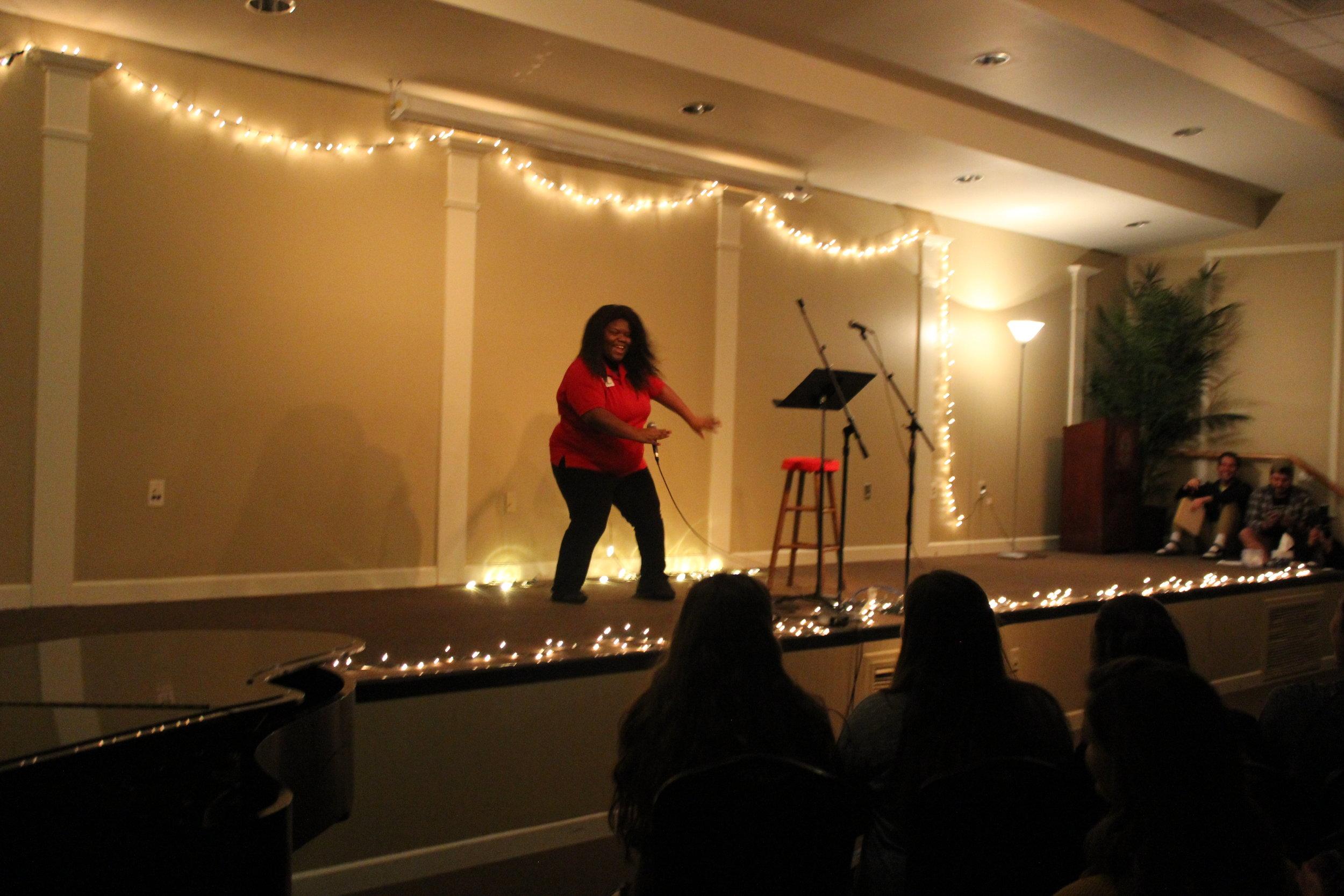 Brandy Fari breaking it down on stage.