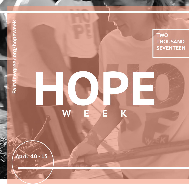 Photo Courtesy: www.fairviewgreer.org/hopeweek
