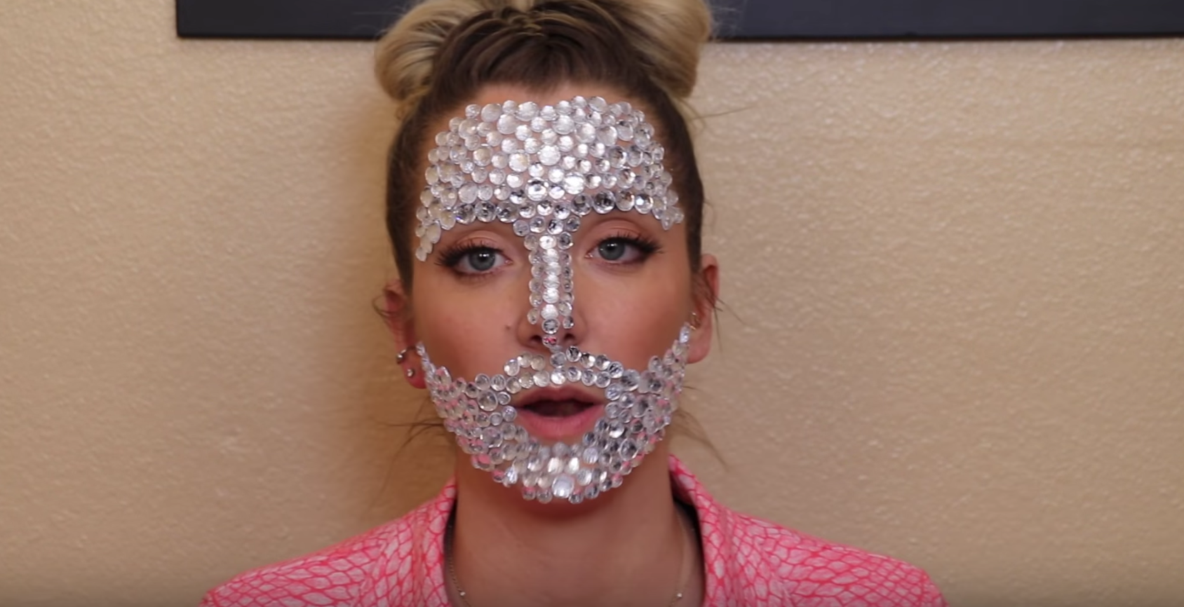 Pictured above, Jenna Mourey (Marbles) covers her face in rhinestones.