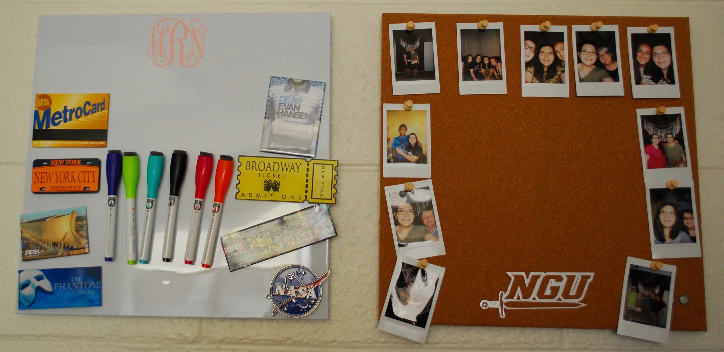 Roddy's collection of New York magnets (left) and one of her many photographic displays of family and friends (right).