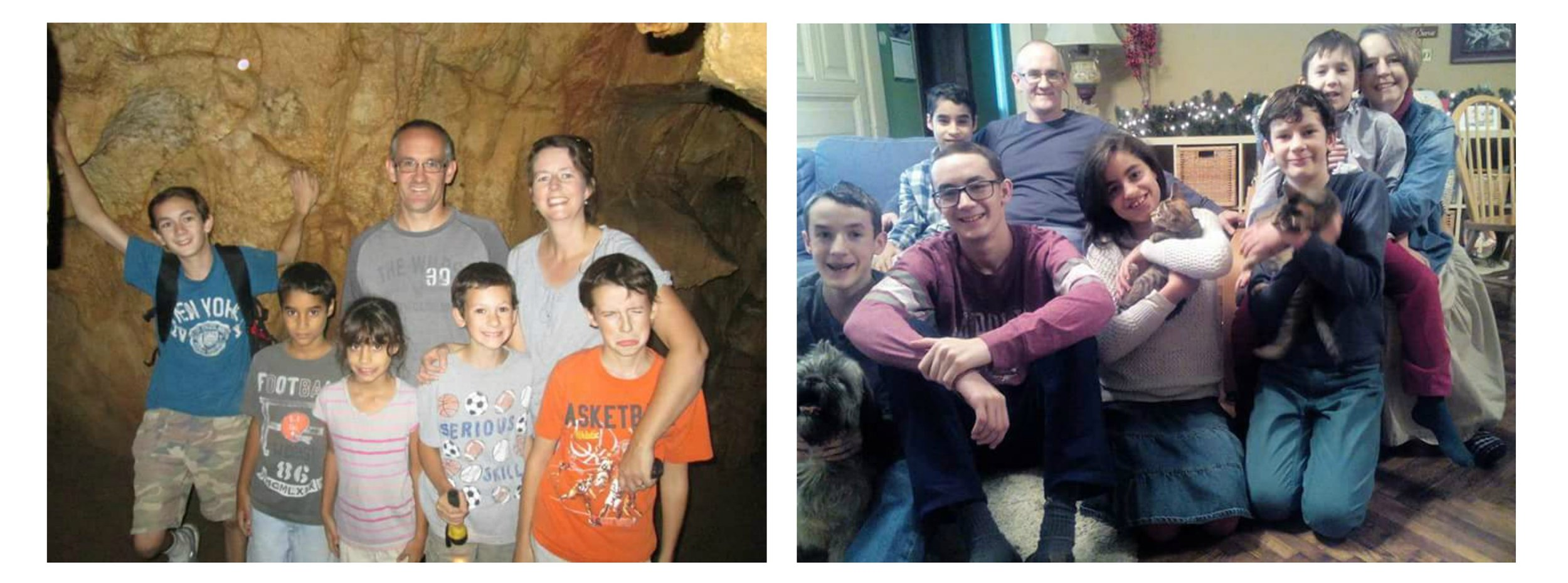 Howerton and his family: Left-five years ago; Right-Christmas 2015