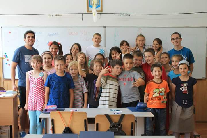 Howerton and one of the classes he taught while in Romania.