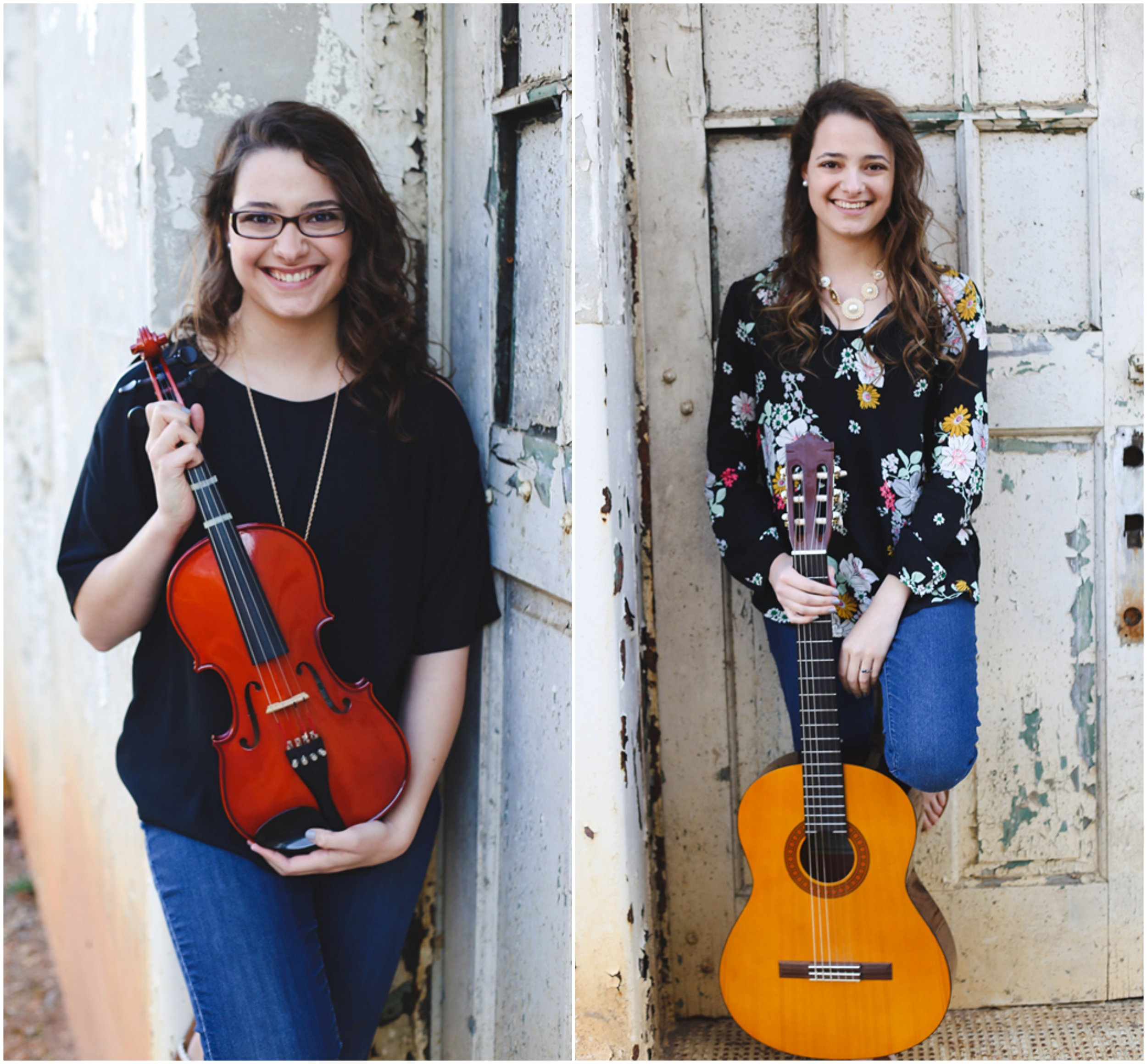 Left: Rachel with her violin; Right: Nicole with her guitar