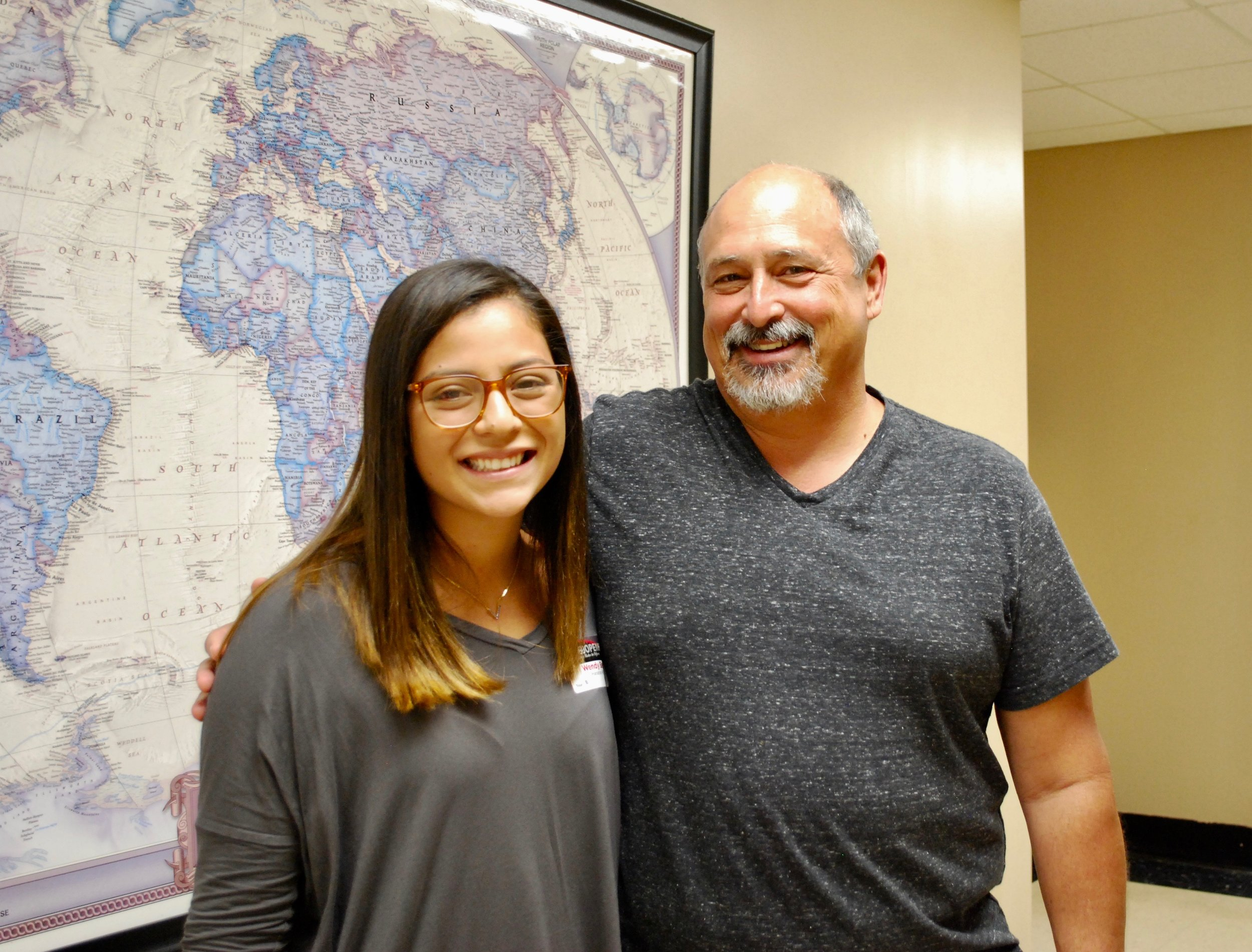 Wendy, an upcoming freshman, and her dad, find their way around the student center.