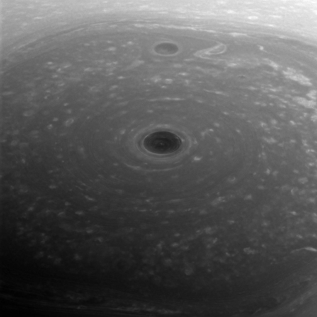 """3.  """"Top of the World""""   In this picture clouds swirl over Saturn's North Pole."""