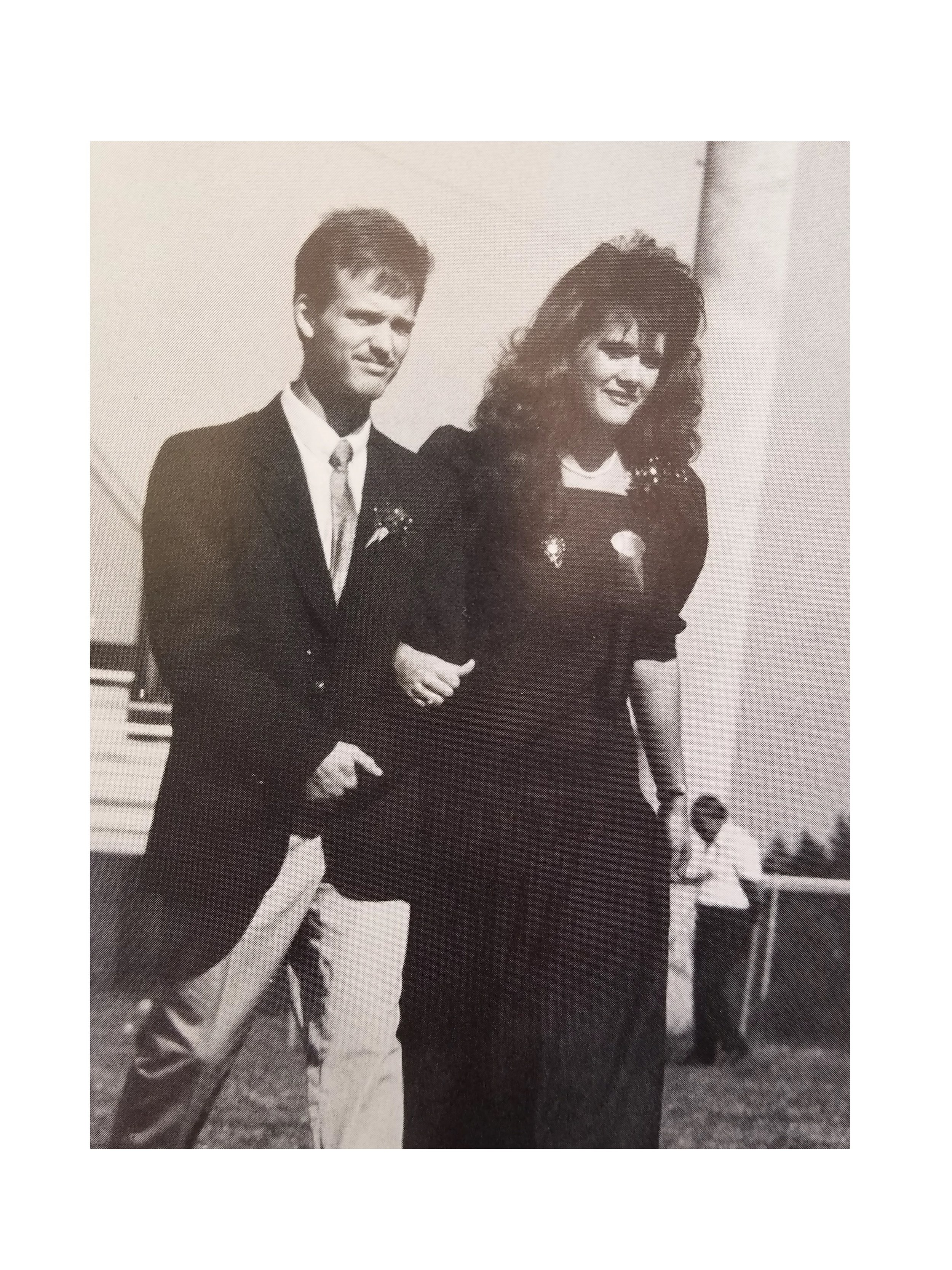 Mike Blackwood escorts Kimberly Yeomans onto the homecoming court 1988.  Photo courtsey of Aurora '89
