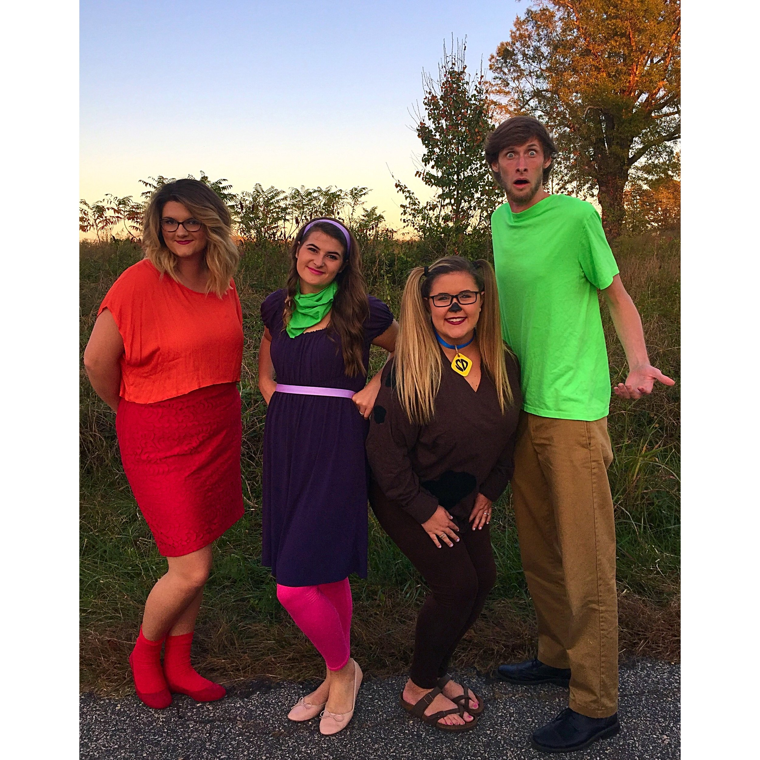 Emily Jenkins (junior), Libby Smith (sophomore), Cameron Burroughs (junior), and Cody Pendarvis (junior) dressing as their favorite cartoon characters from Scooby Doo.