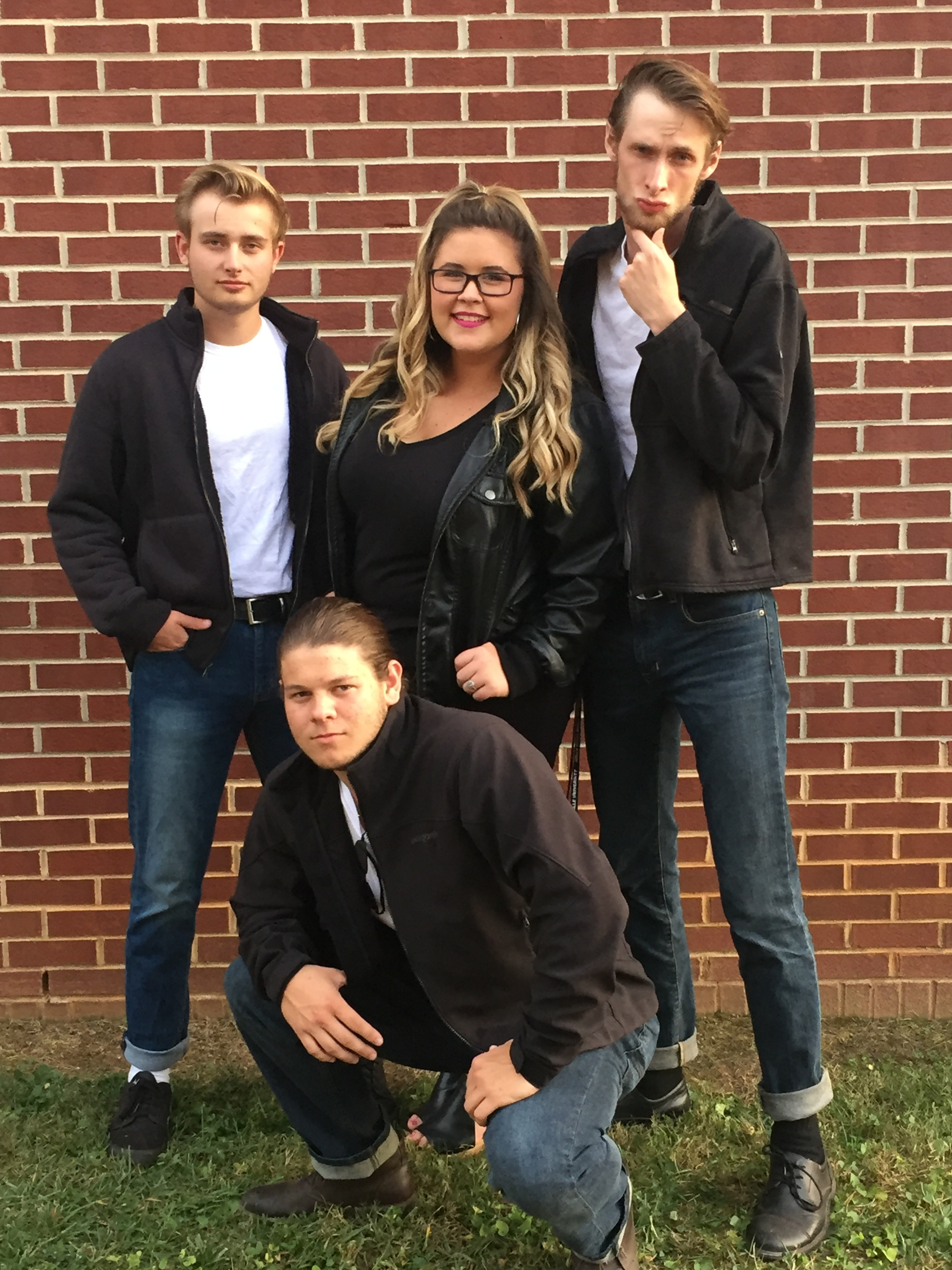 Ross Smith (junior), Andrew Kneece (junior), Cameron Burroughs (junior), and Cody Pendarvis (junior) dress as characters from the movie Grease.