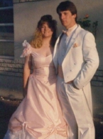 Jeanne and Mark Mahan posing before prom.