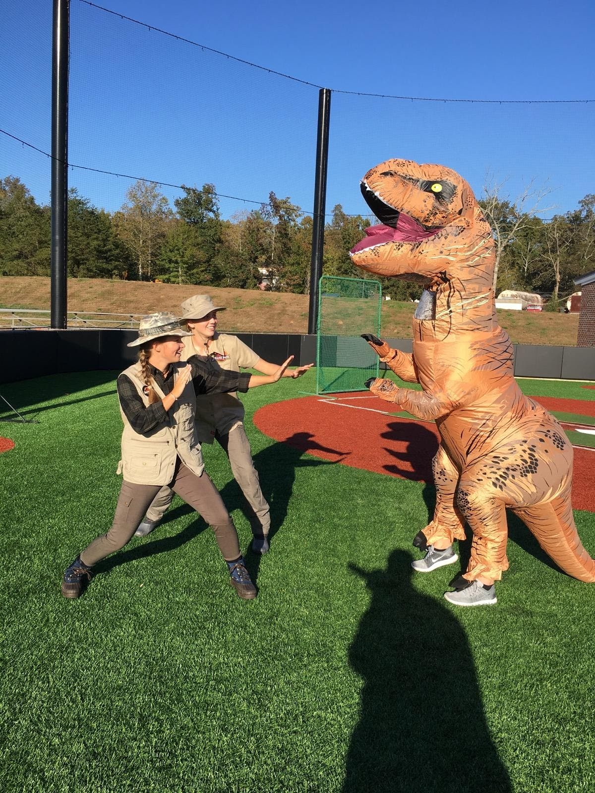 Freshmen Darbi Holmes and Taylor Koon get ready to fight freshman Jalein Griffin after discovering the horrifying T-Rex.