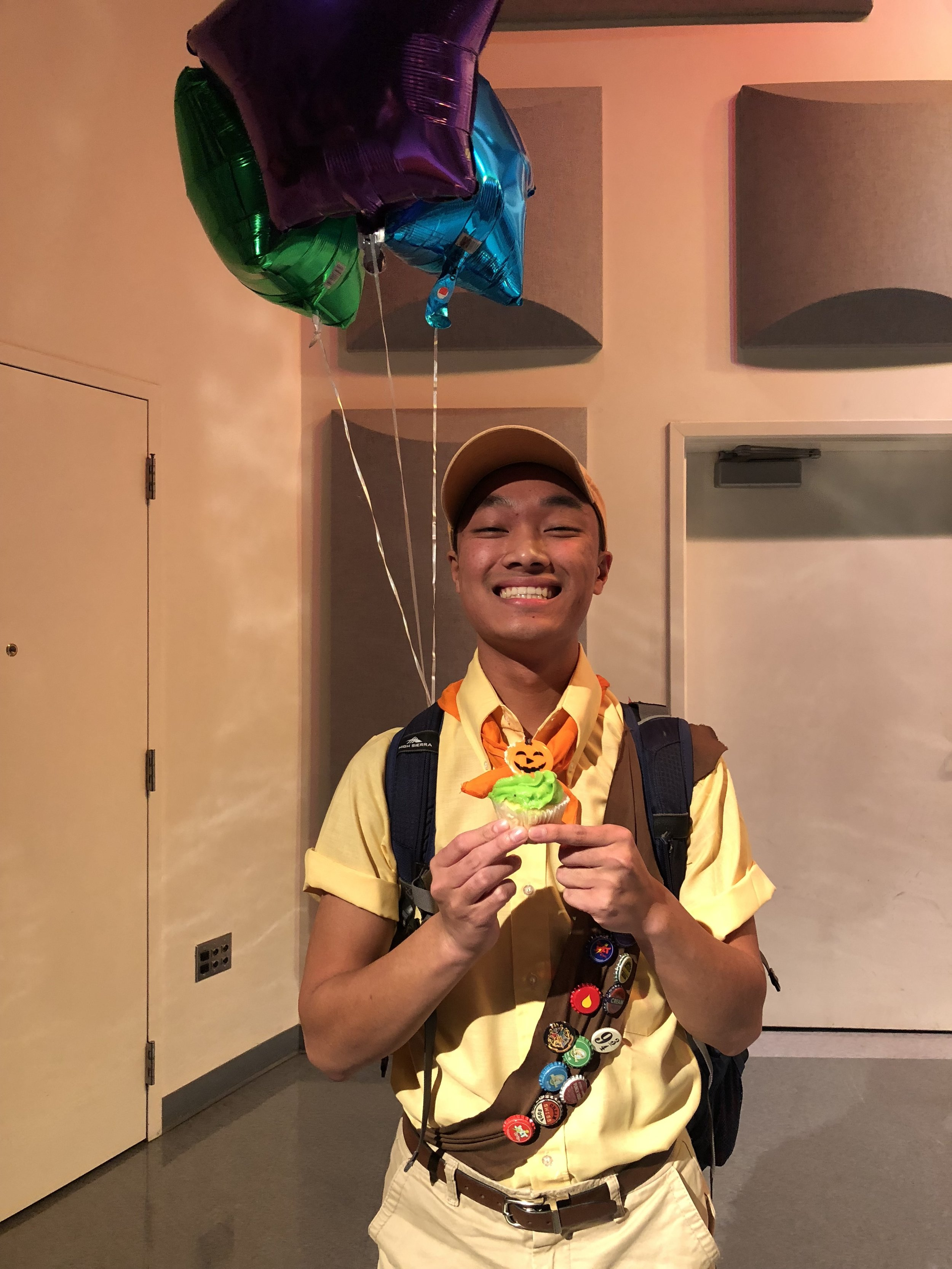 """Sophomore Adam Kelly placed second in the Improv Show's costume contest dressed as the adorable boy scout from Disney Pixar's """"Up."""""""