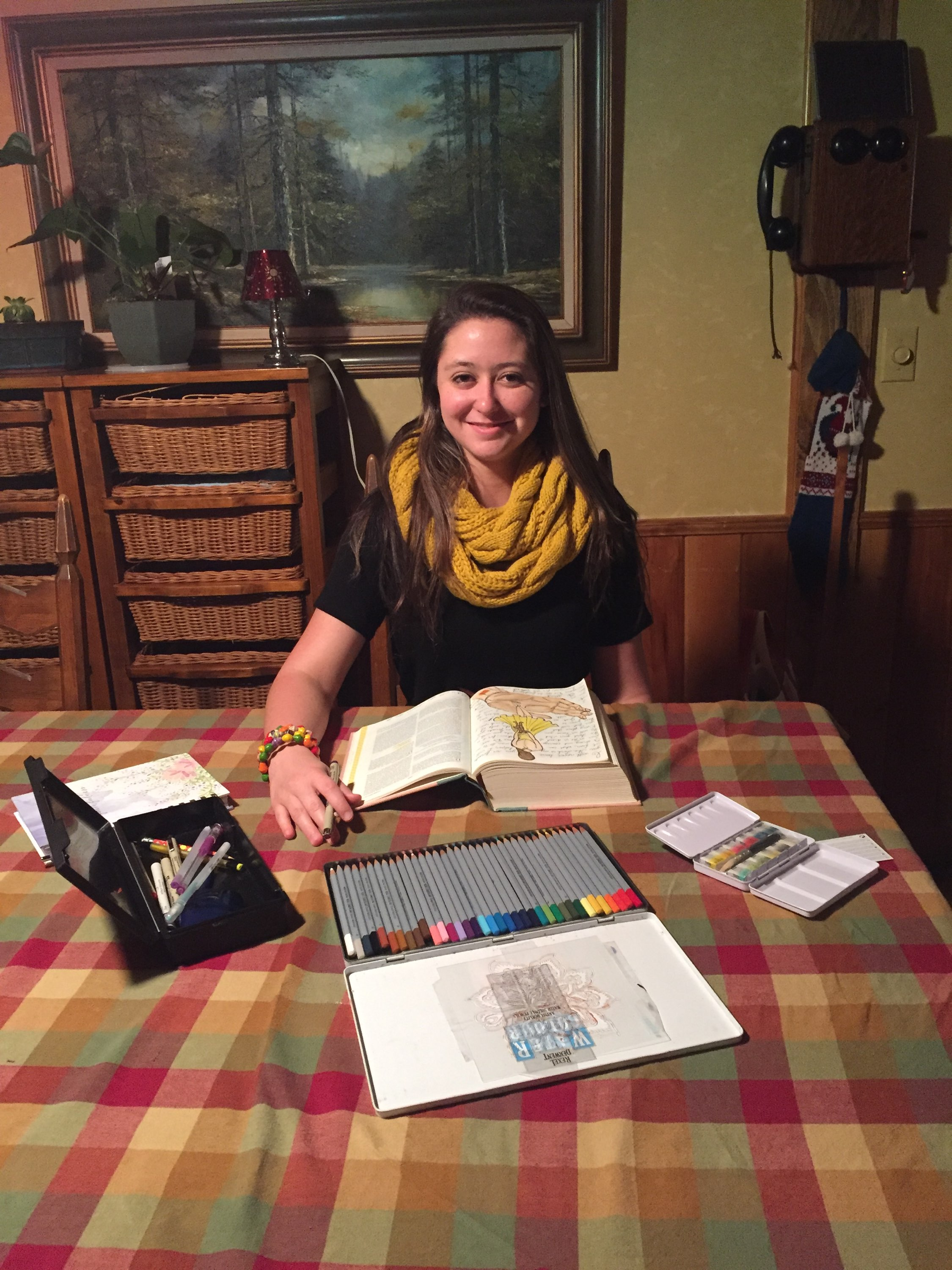 Grace Barrows (Senior in high school - dual-enrolling)says her favorite gift she has received are her journalling Bible and art supplies.