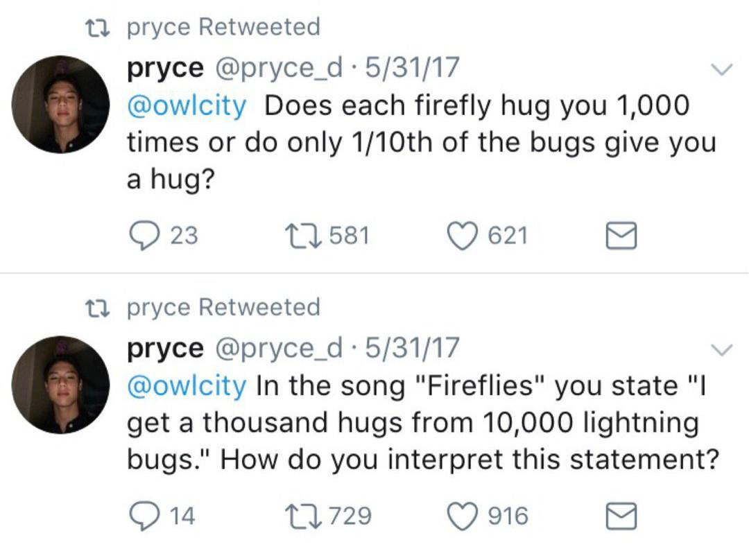 Fan's question  Courtesy:http://www.billboard.com/articles/columns/pop/7881803/owl-city-fireflies-back-on-charts-interview