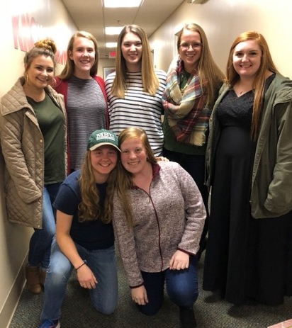 Back row (L to R): Hannah Nicks, Bethany Fowler, Abigail Dunlap, Betty Baty, Rachel Loveday  Front (L to R): Libby Myers, Mary Mahan