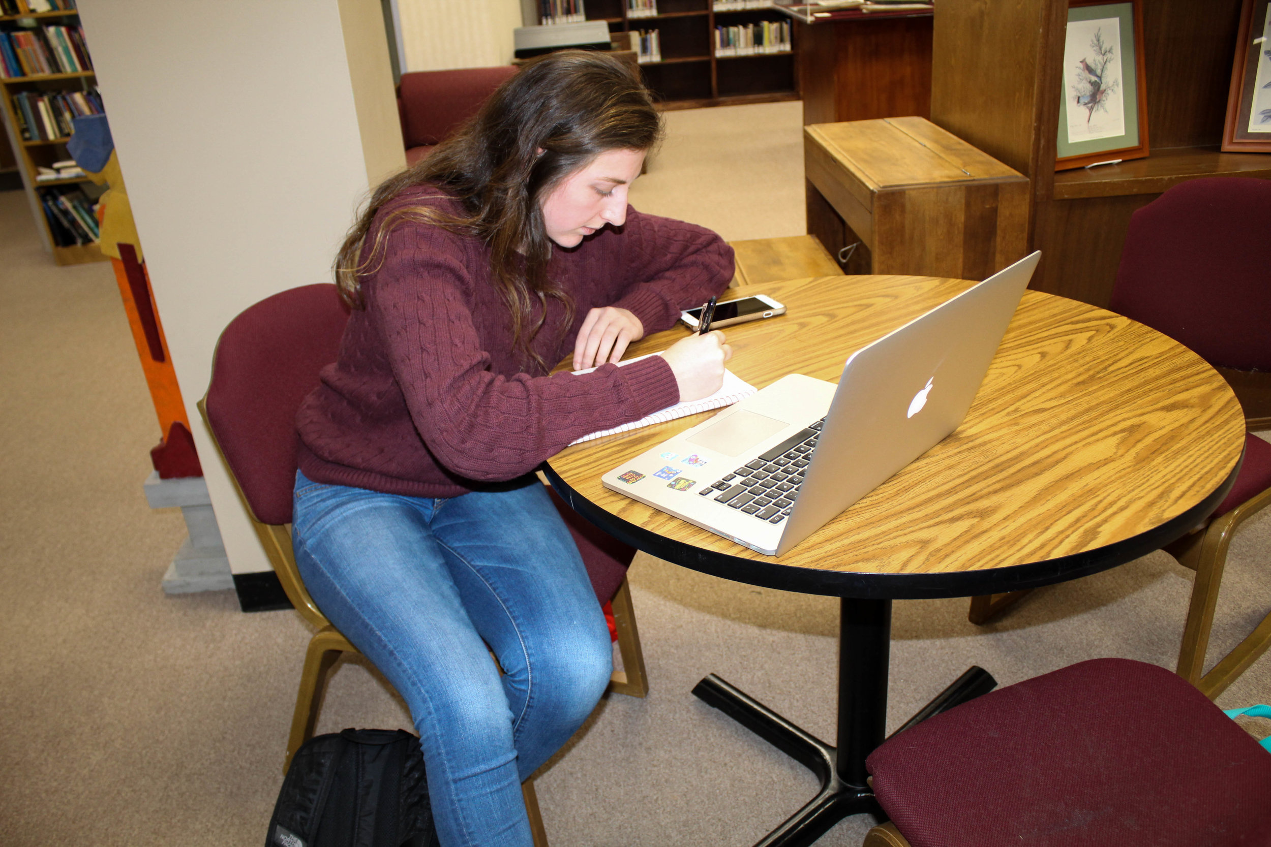 Kyli Schmitt, a junior biology major, uses her laptop as she studies in the library.