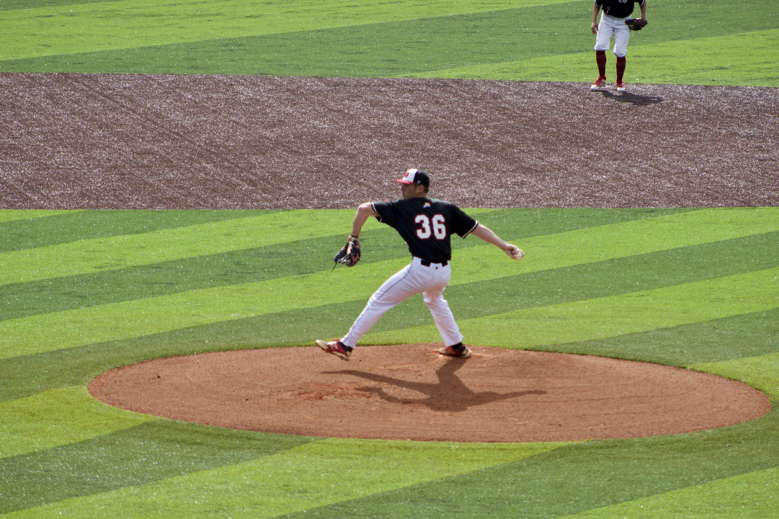Trent Spikes getting ready to pitch.
