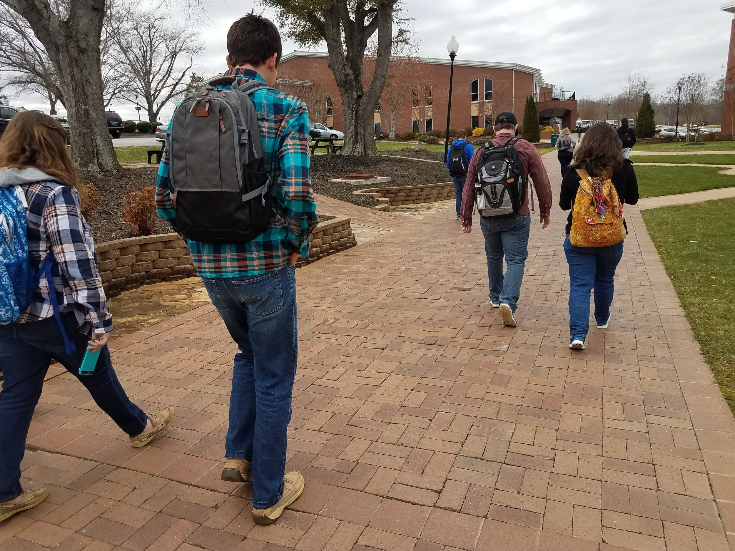 Students head to class around noon time.
