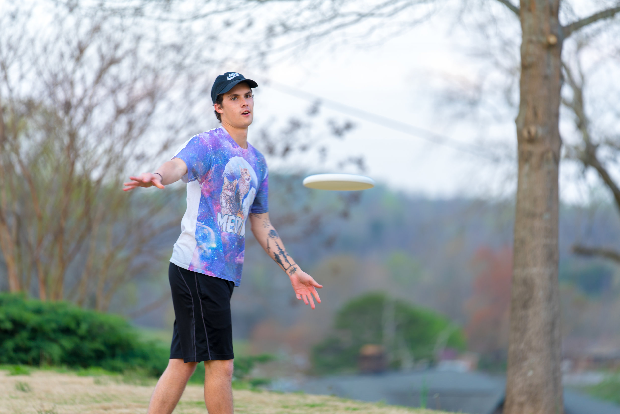 Caleb Kohns returns fire in a game of Frisbee.
